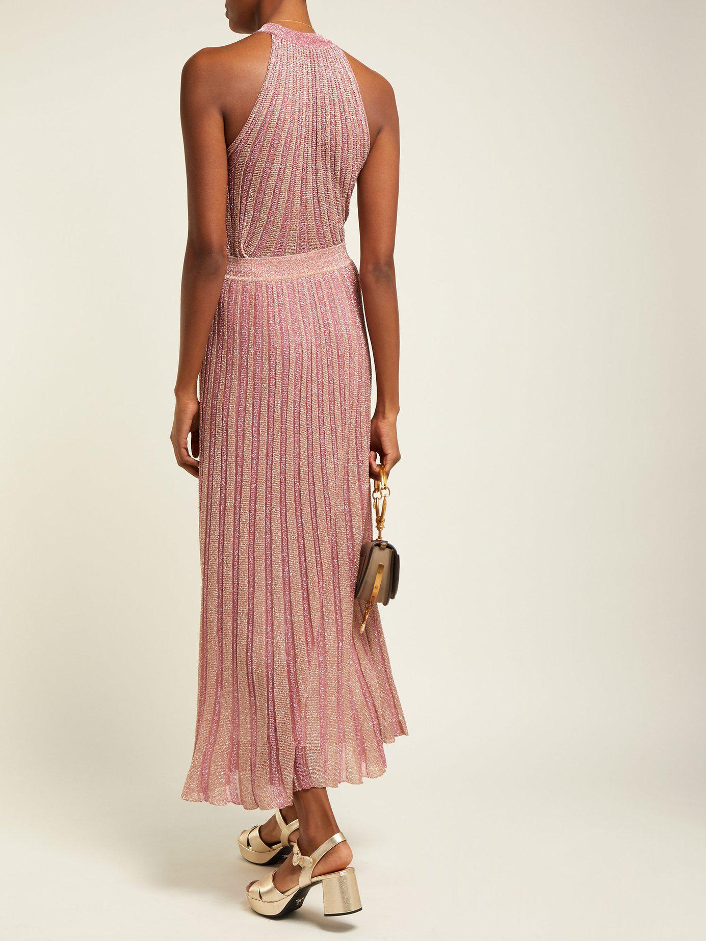 Missoni - Pink Ribbed Knit Lamé Skirt - Lyst. View fullscreen d8ec15631