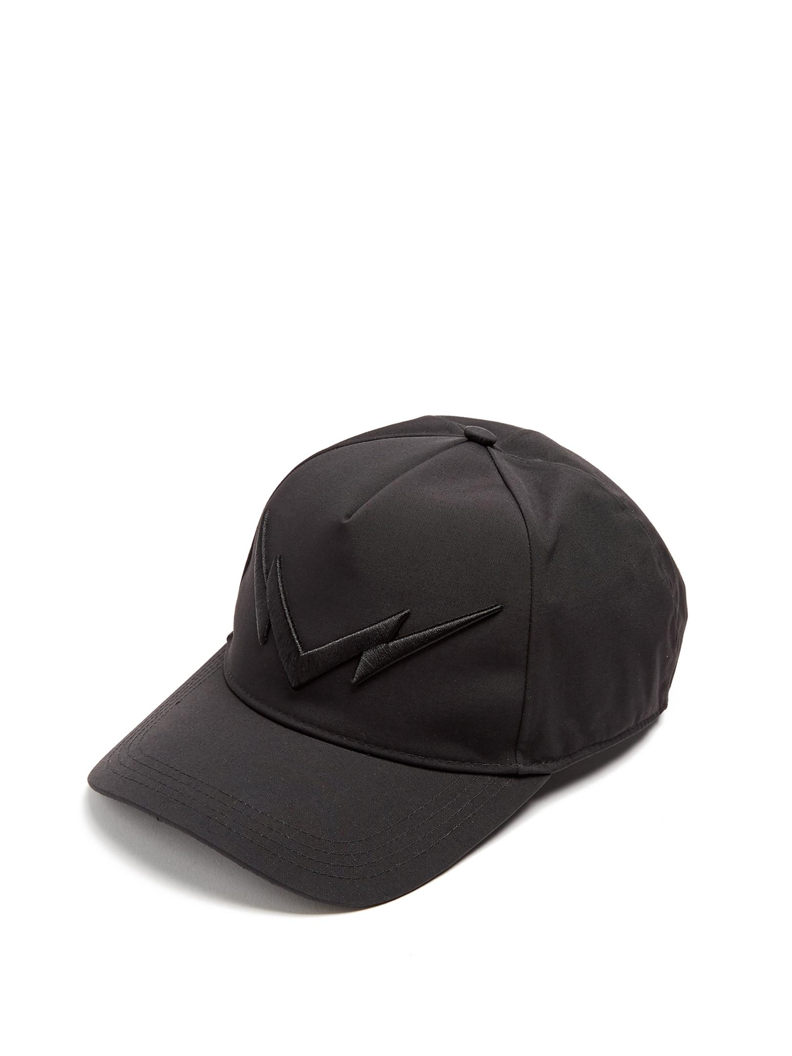 Lyst - Neil Barrett Mirrored Lightning-bolt Embroidered Baseball Cap ... 77a184a29c87