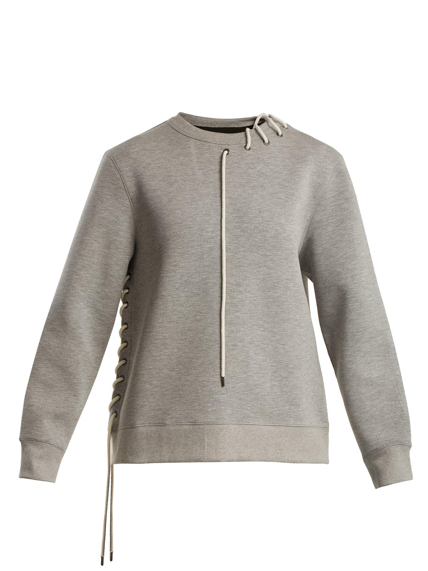 69f403affd ... Gray Crew Neck Lace Up Jersey Sweatshirt - Lyst. View fullscreen