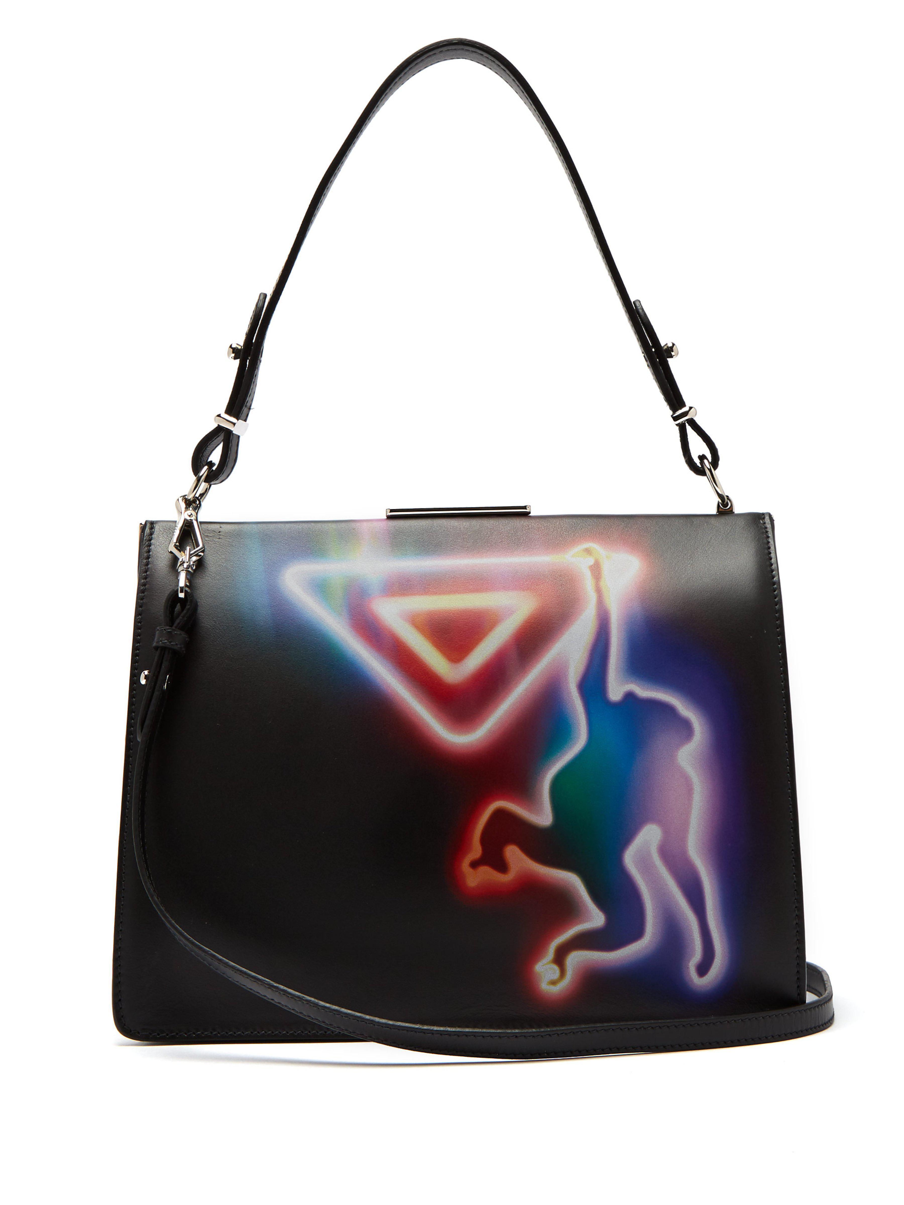 7af14fd0d1fc Prada Monkey Print Leather Cross Body Bag in Black - Lyst