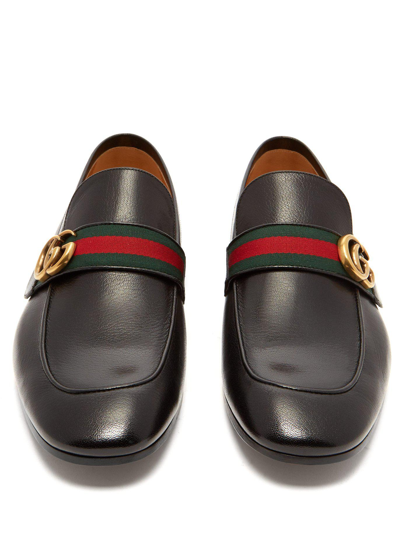 fd17a169274 Gucci - Black Donnie Gg Web Stripe Leather Loafers for Men - Lyst. View  fullscreen