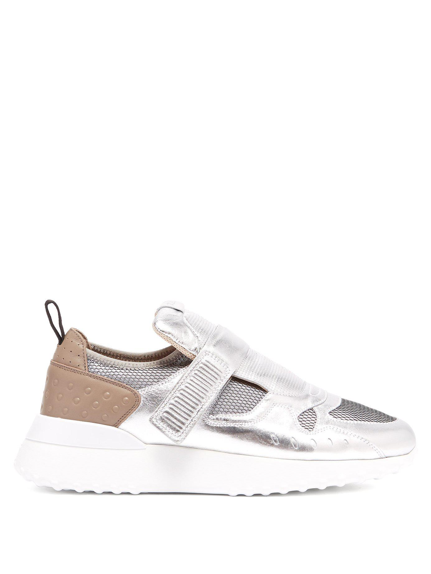 ae73e7c6e9b Lyst - Tod s Exaggerated Sole Leather Trainers in Metallic