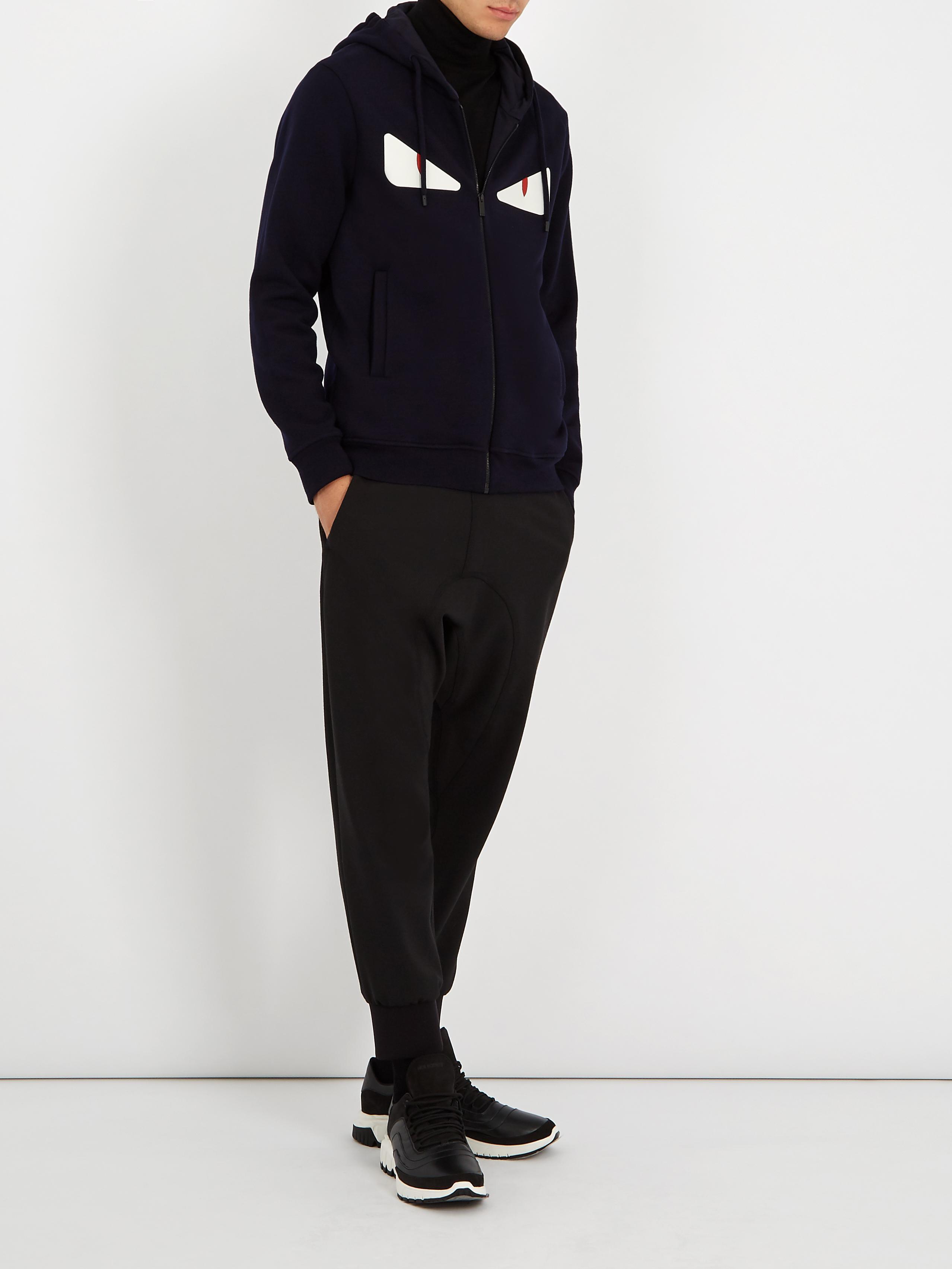 Lyst - Fendi Bag Bugs-appliqué Hooded Wool-blend Sweatshirt in Blue ... aa0ba2d6711