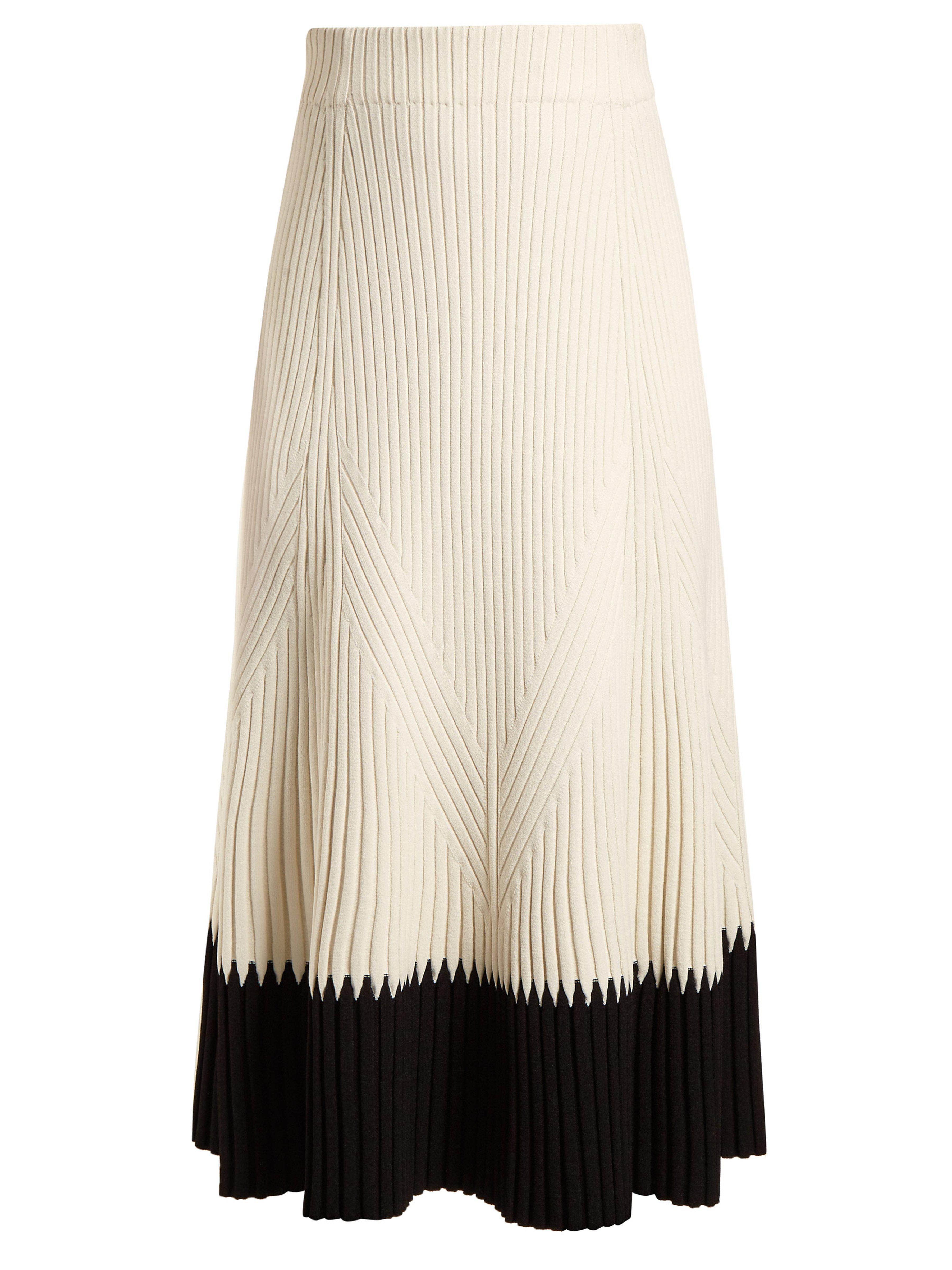 ec8f01ea6 Alexander McQueen Contrast-hem Ribbed Midi Skirt in White - Lyst