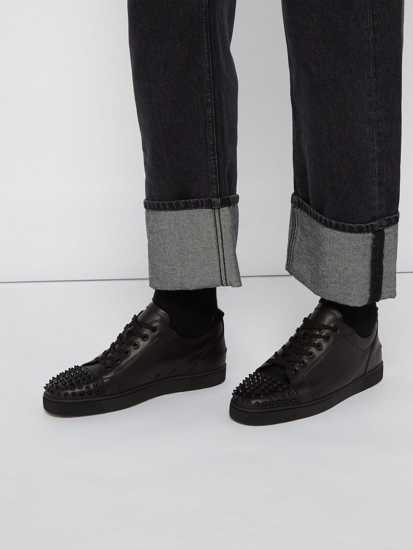 fb085638641c Lyst - Christian Louboutin Louis Junior Low Top Leather Trainers in Black  for Men