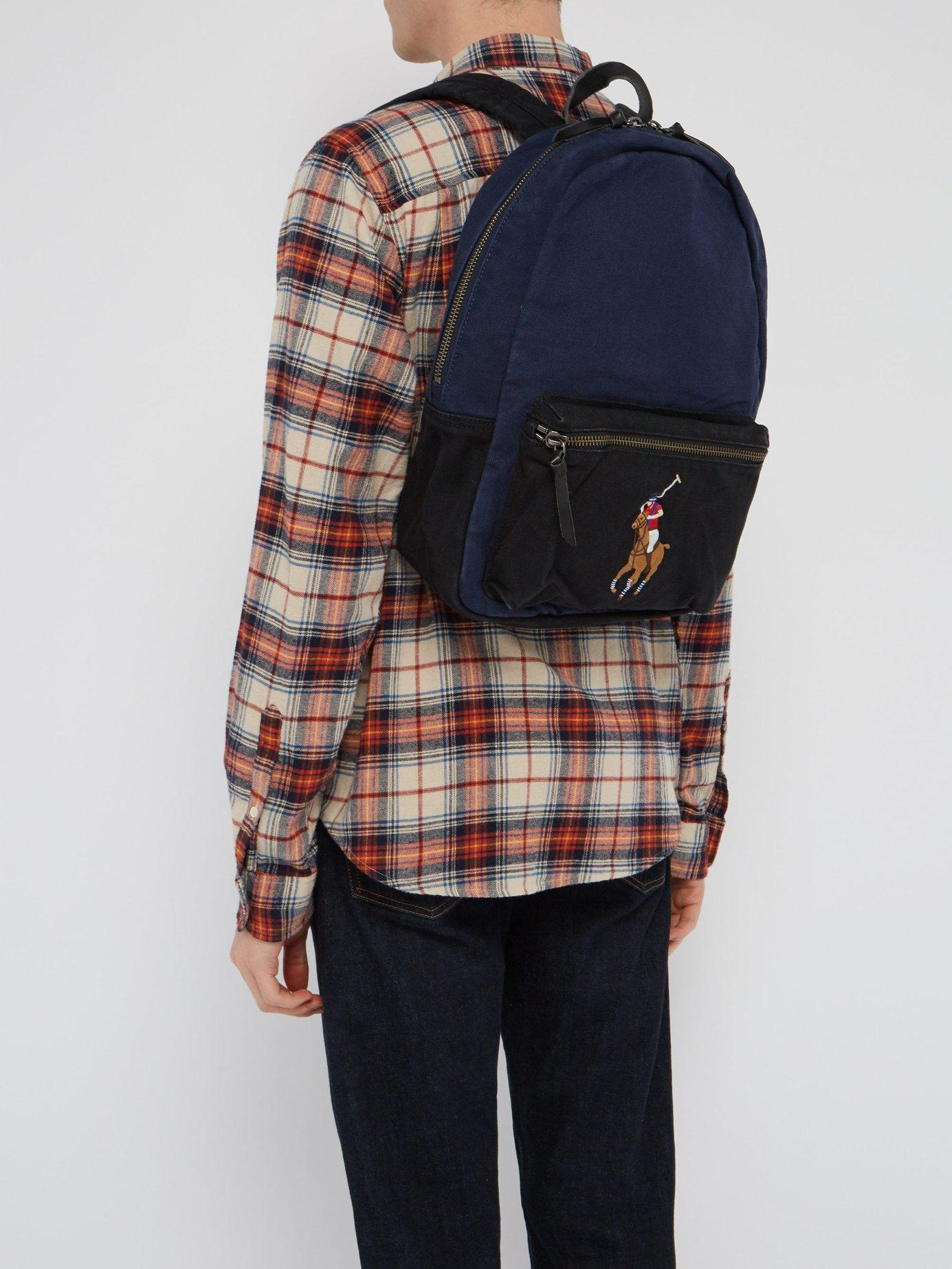 adb43ef597d4 Lyst - Polo Ralph Lauren Logo Embroidered Canvas Backpack in Blue for Men -  Save 37%