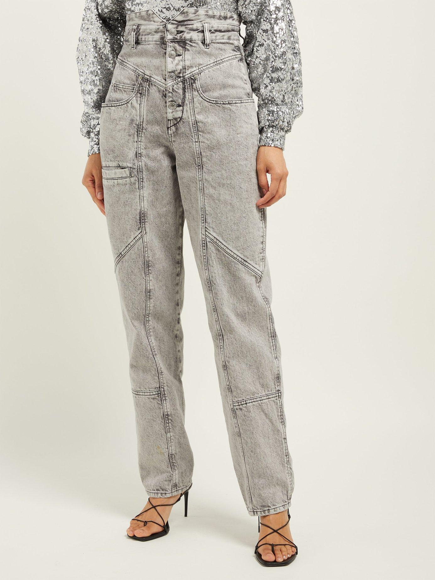 85b9c0d2088 Lyst - Isabel Marant Roger High Rise Panelled Jeans in Gray