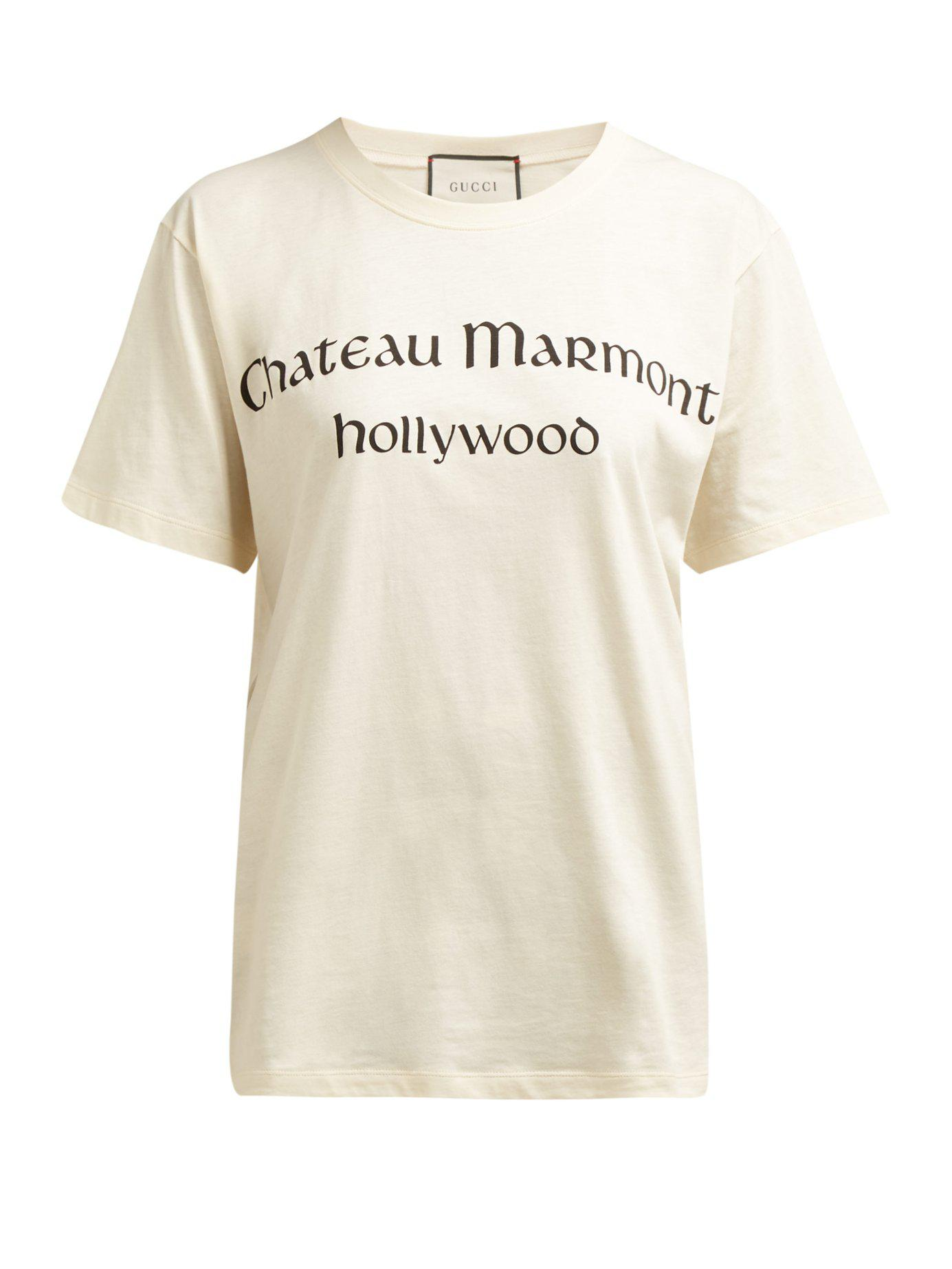 8daa242a7f5 Gucci - Multicolor Chateau Marmont Print Cotton T Shirt - Lyst. View  fullscreen