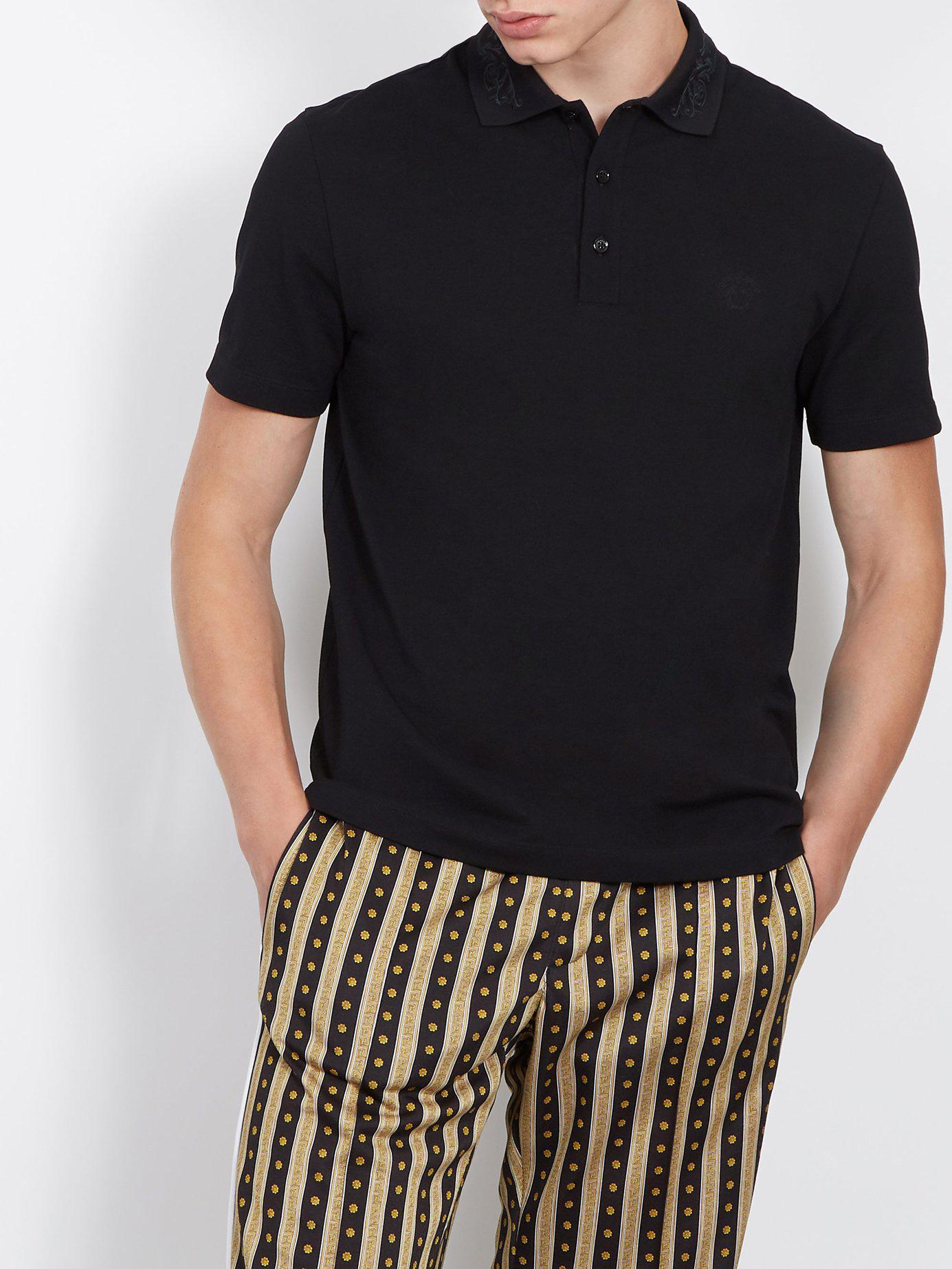 6142be8d8c3a Lyst - Versace Baroque Collar Cotton Polo Shirt in Black for Men