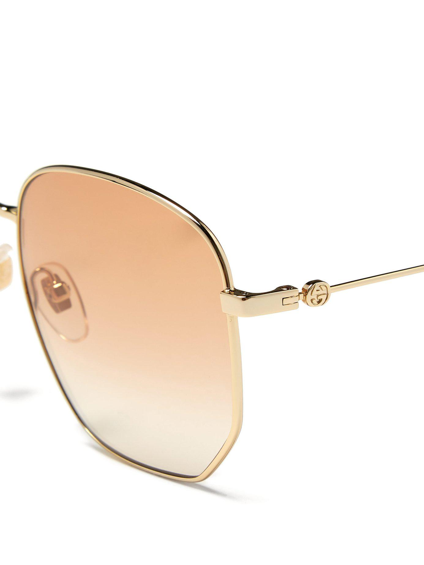 6864b4e1bda Gucci - Orange Oversized Bee Engraved Metal Sunglasses - Lyst. View  fullscreen