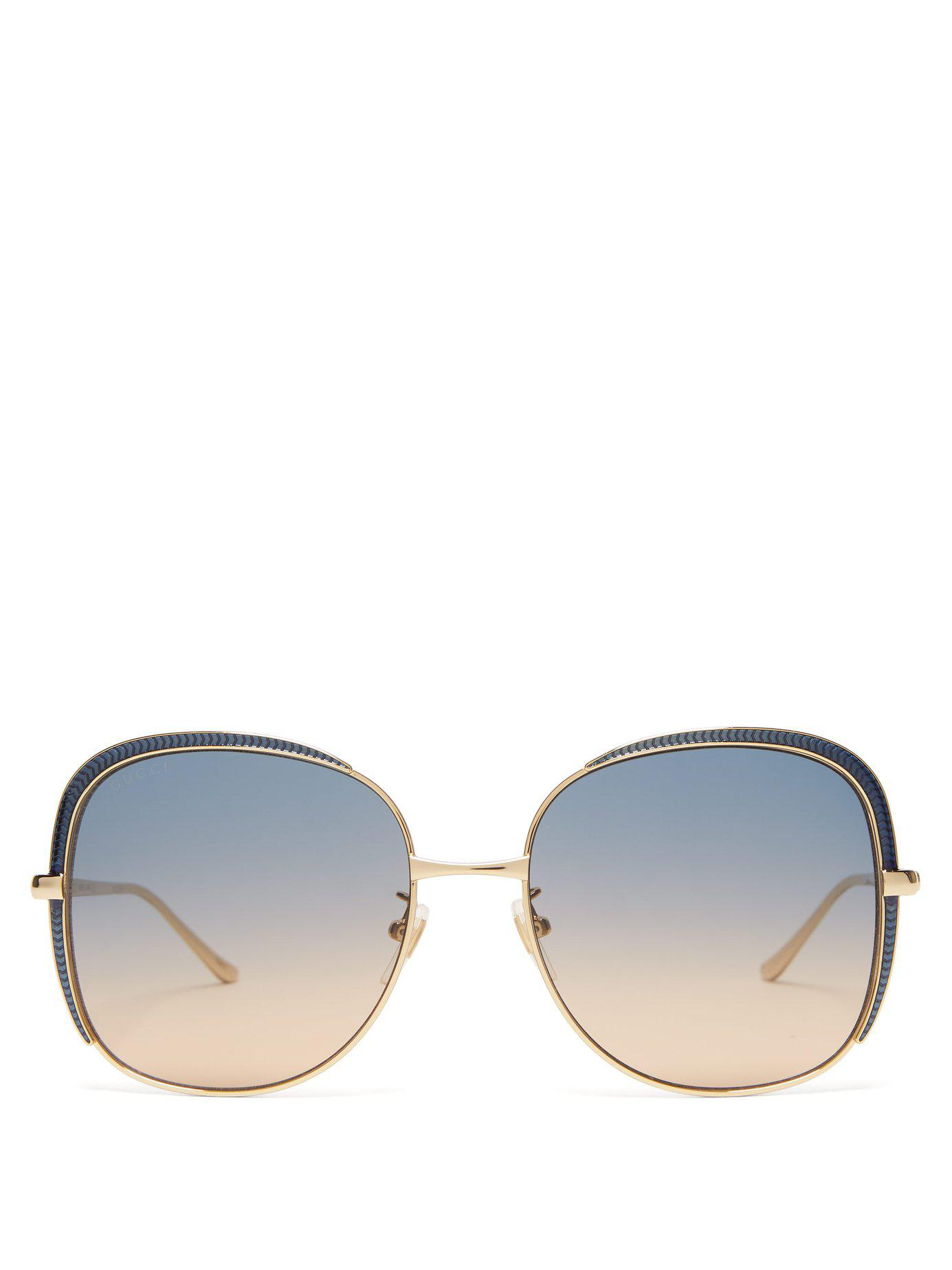 cf5699c8202 Gucci. Women s Oversized Square Frame Metal Sunglasses