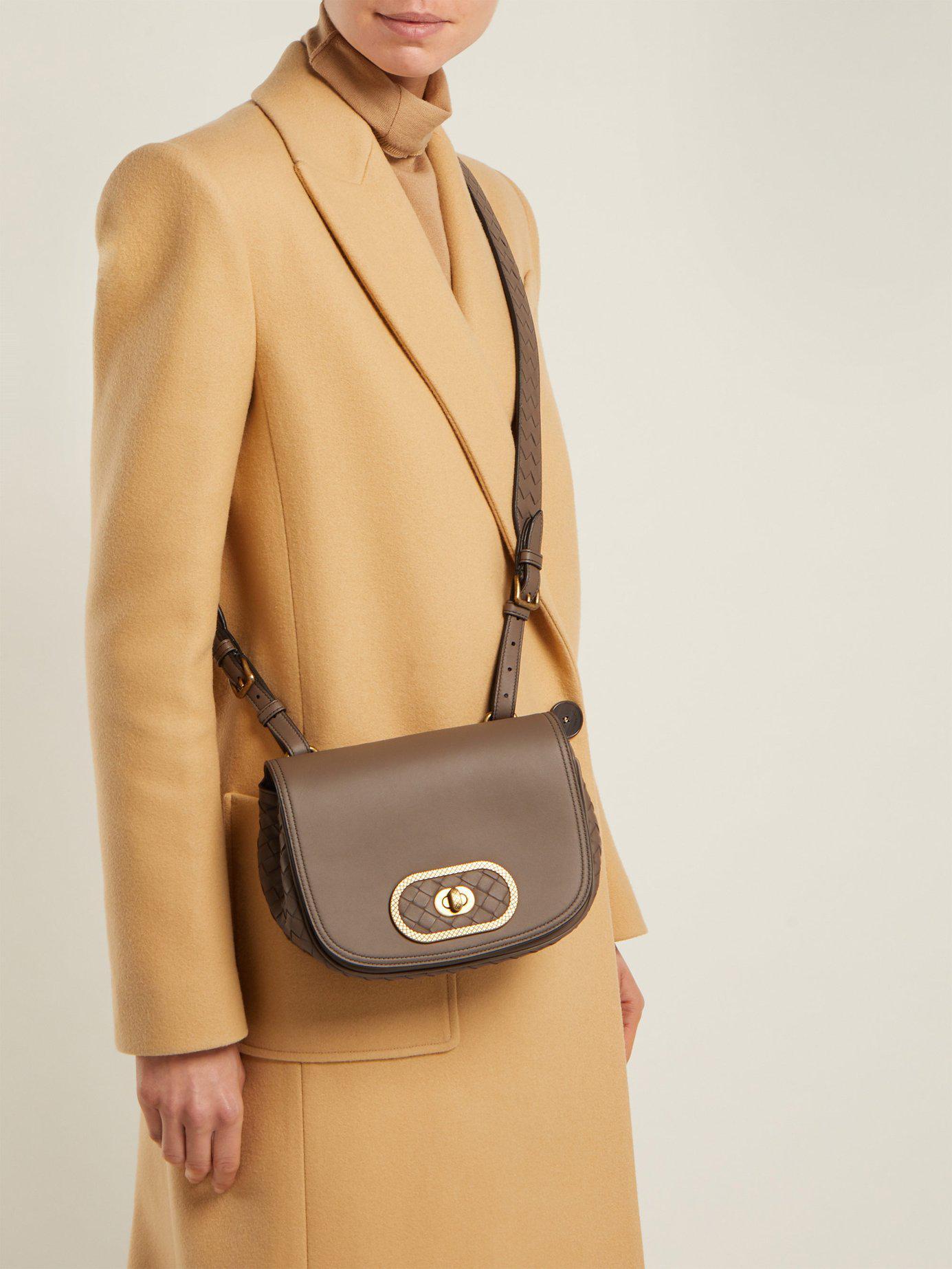 2194e6759821 Lyst - Bottega Veneta Bv Luna Leather Cross Body Bag in Gray