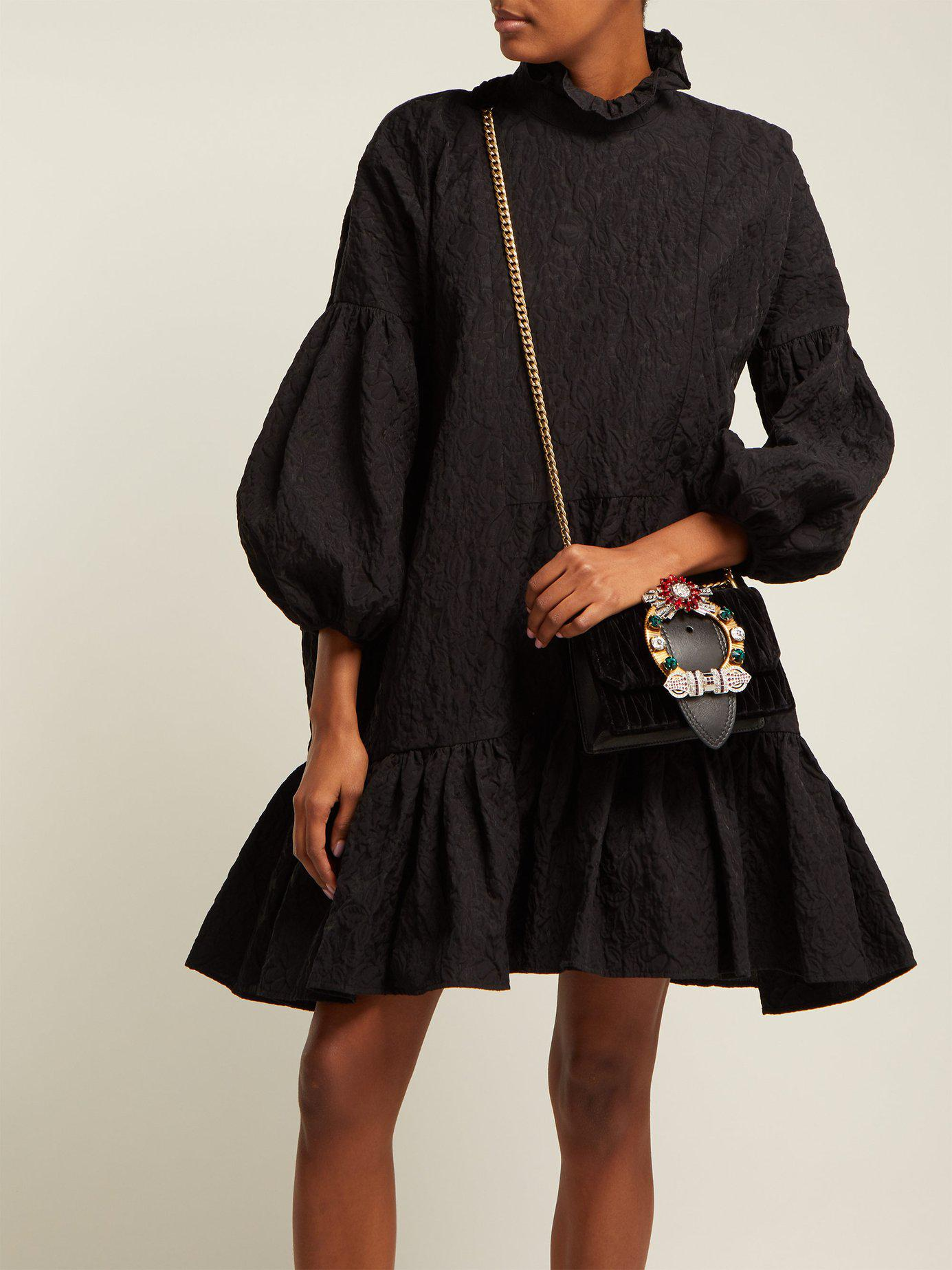 dc451e85bcdb ... Black Miu Lady Matelassé Velvet Cross Body Bag - Lyst. View fullscreen