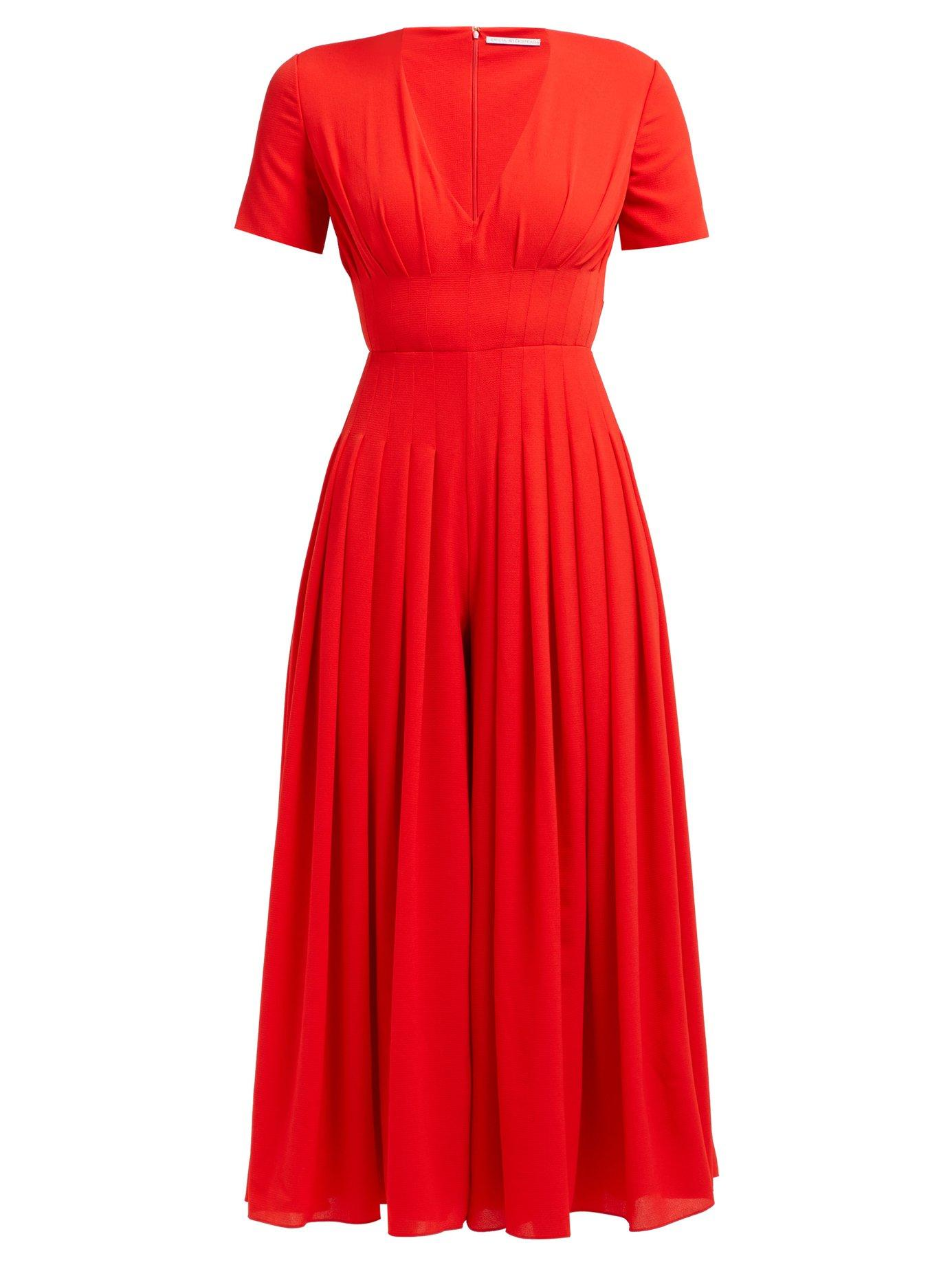 69eb8c13c9 Lyst - Emilia Wickstead Rona Pleated Crepe Jumpsuit in Red