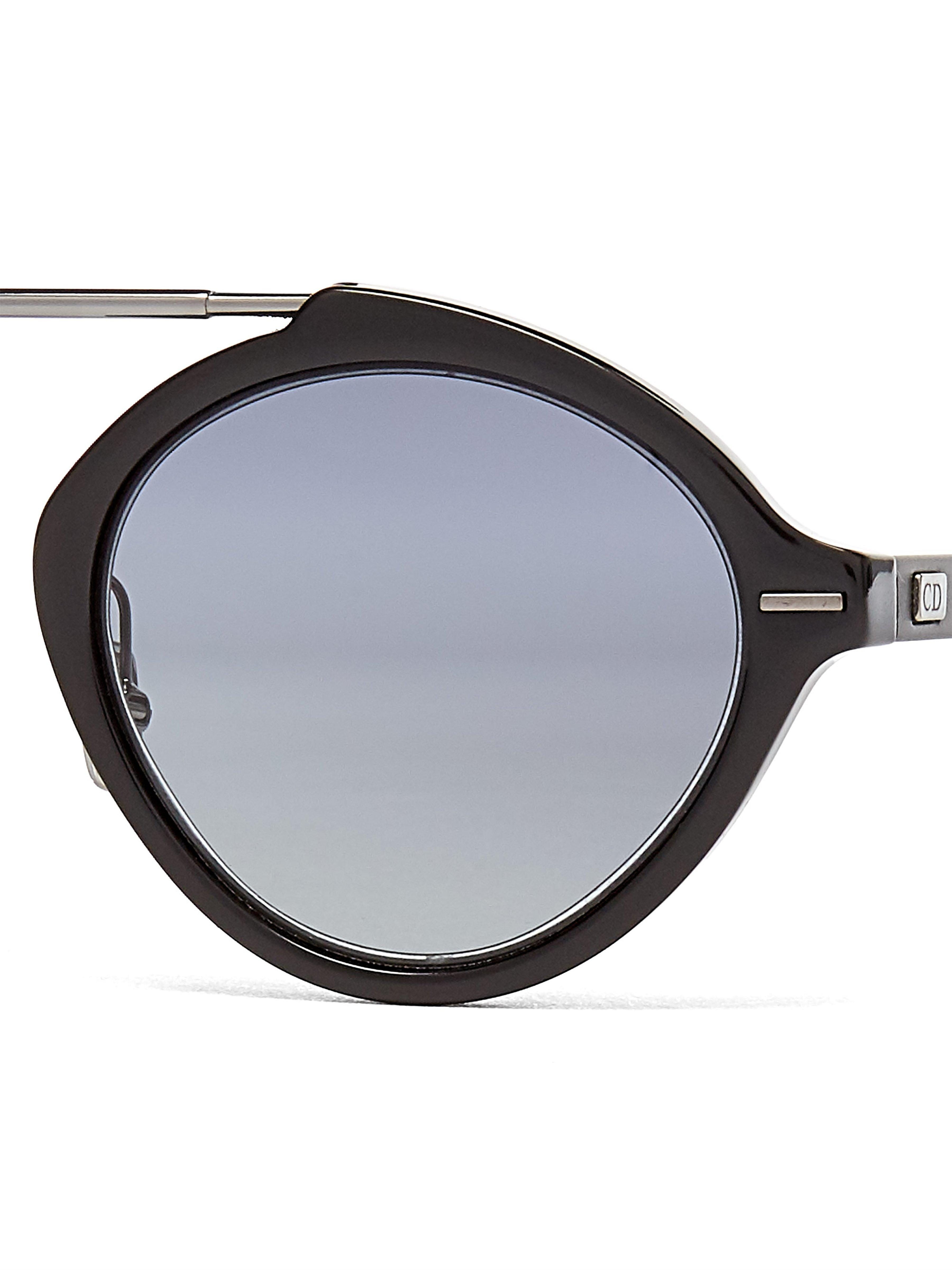 e1cd6de37b940 Dior Homme - Black System Round Acetate And Metal Sunglasses for Men -  Lyst. View fullscreen
