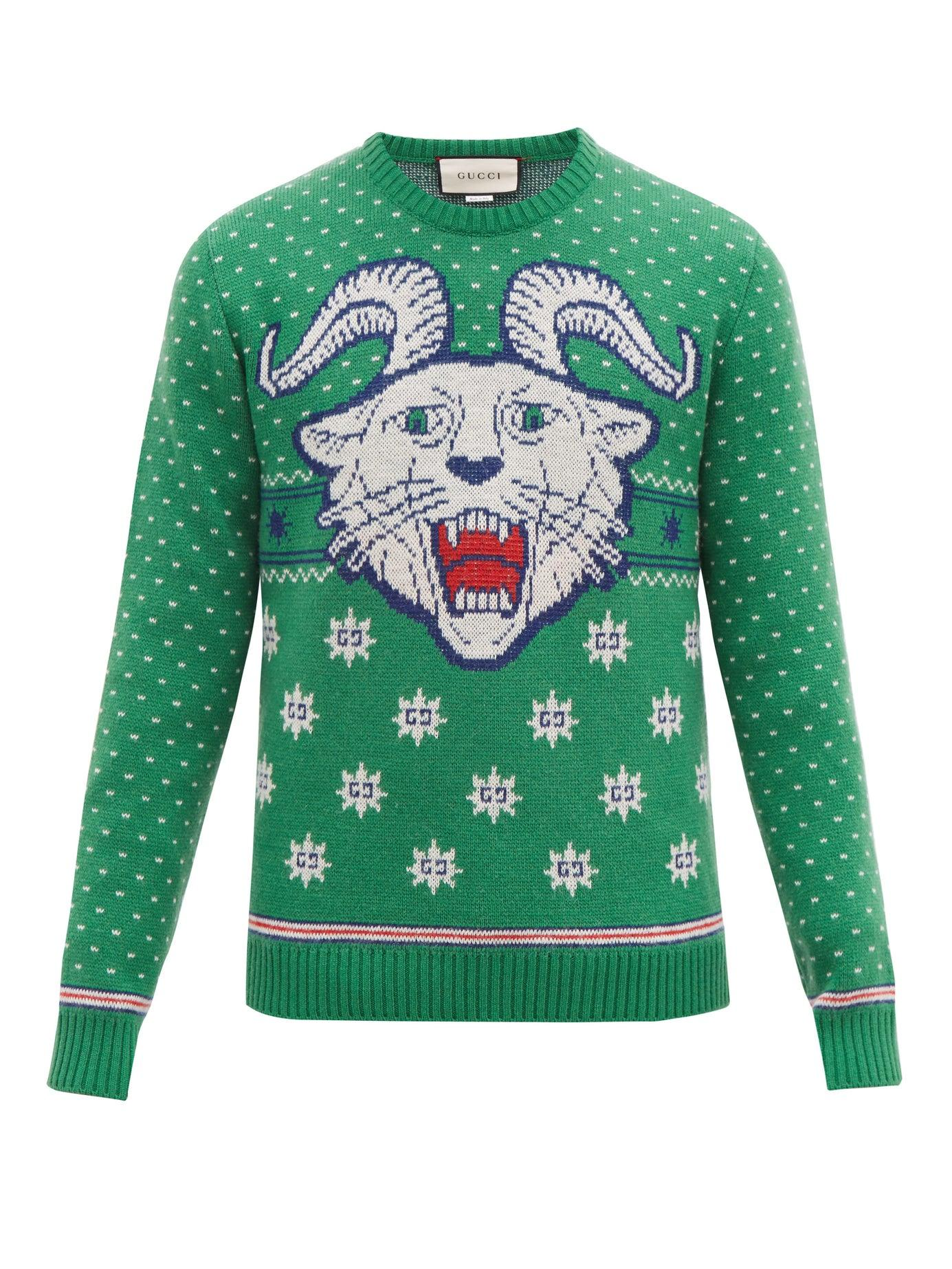 0e0436a22 Gucci - Green Tiger Jacquard Wool Blend Sweater for Men - Lyst. View  fullscreen