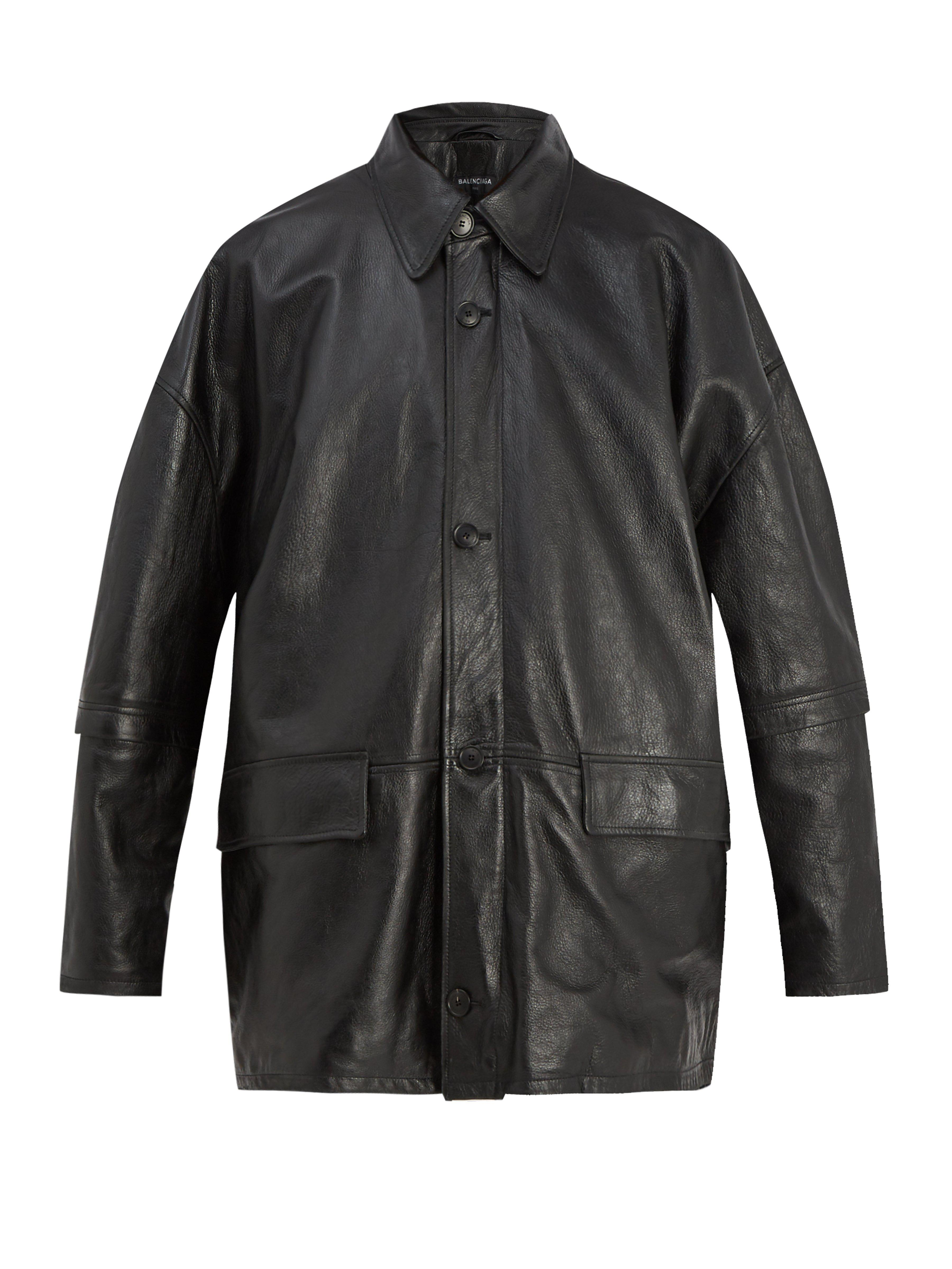 db0b8042a0977 Balenciaga - Black Oversized Leather Jacket for Men - Lyst. View fullscreen