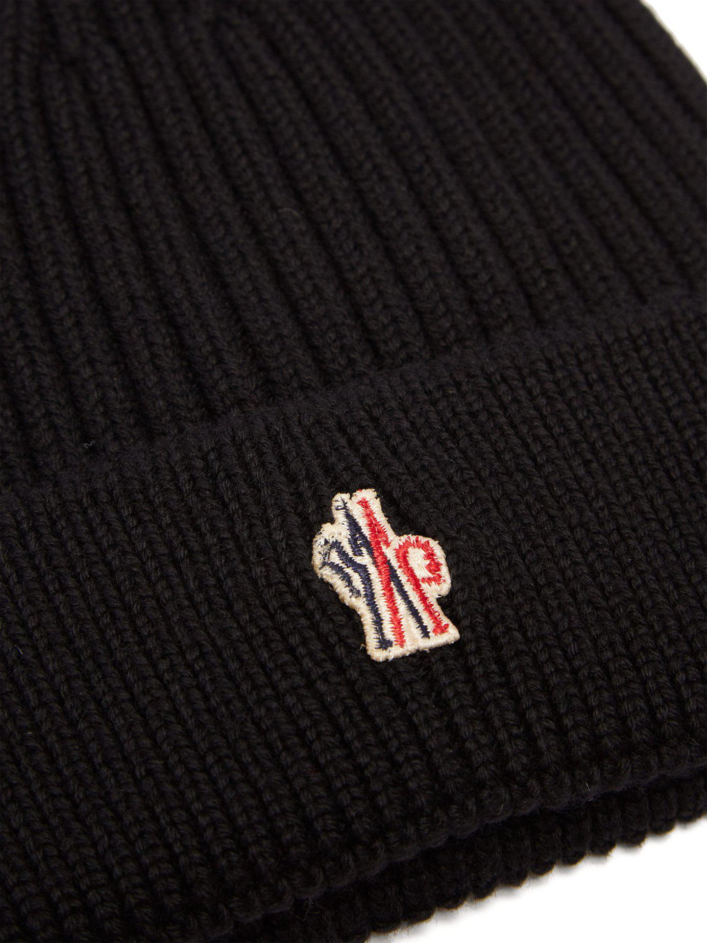 f78037a4004a7 Moncler Grenoble Logo Virgin Wool Beanie Hat in Black for Men - Save  38.23529411764706% - Lyst
