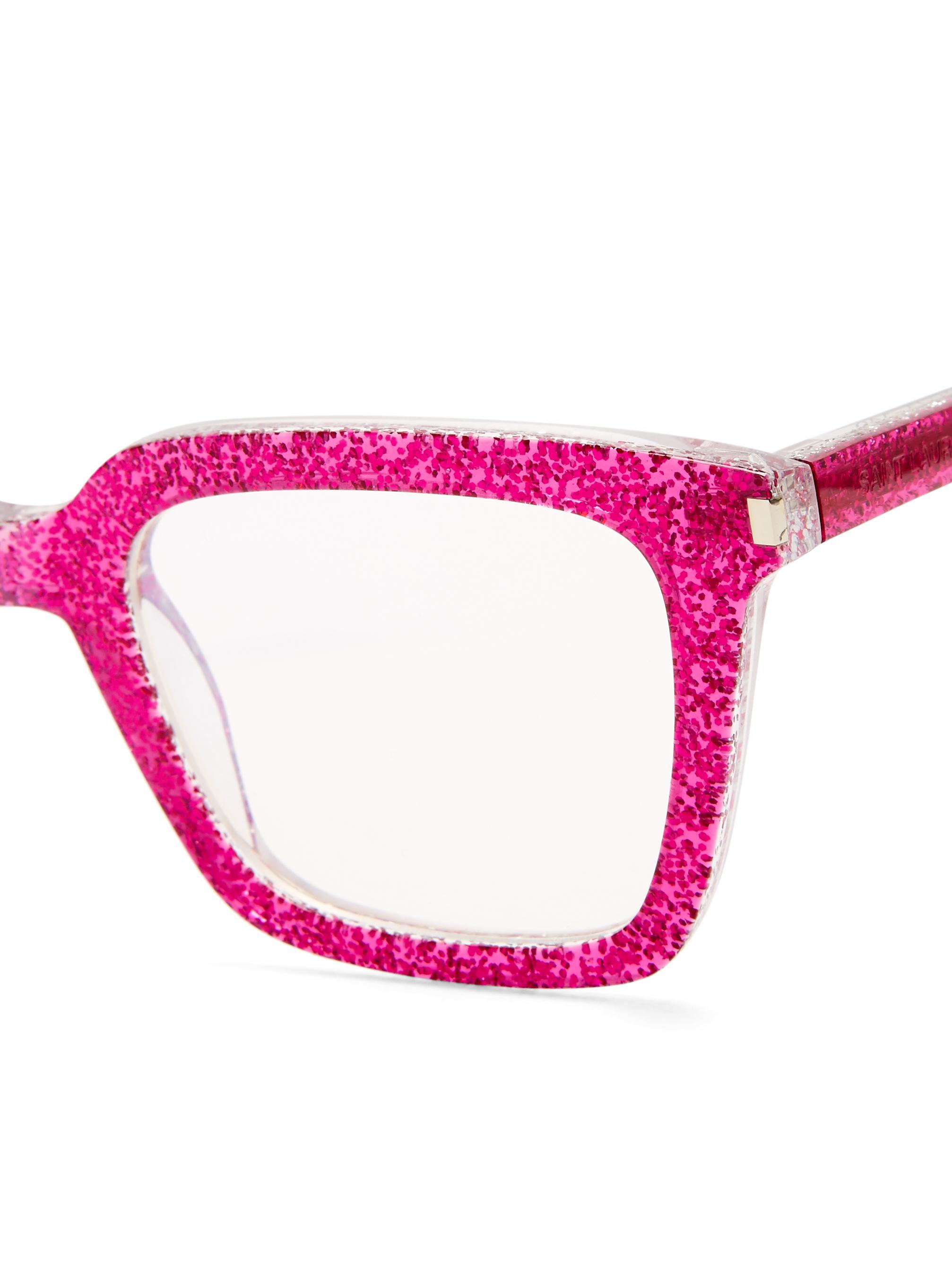 d690c9e889f Saint Laurent Rectangle-frame Glitter Sunglasses in Pink - Lyst