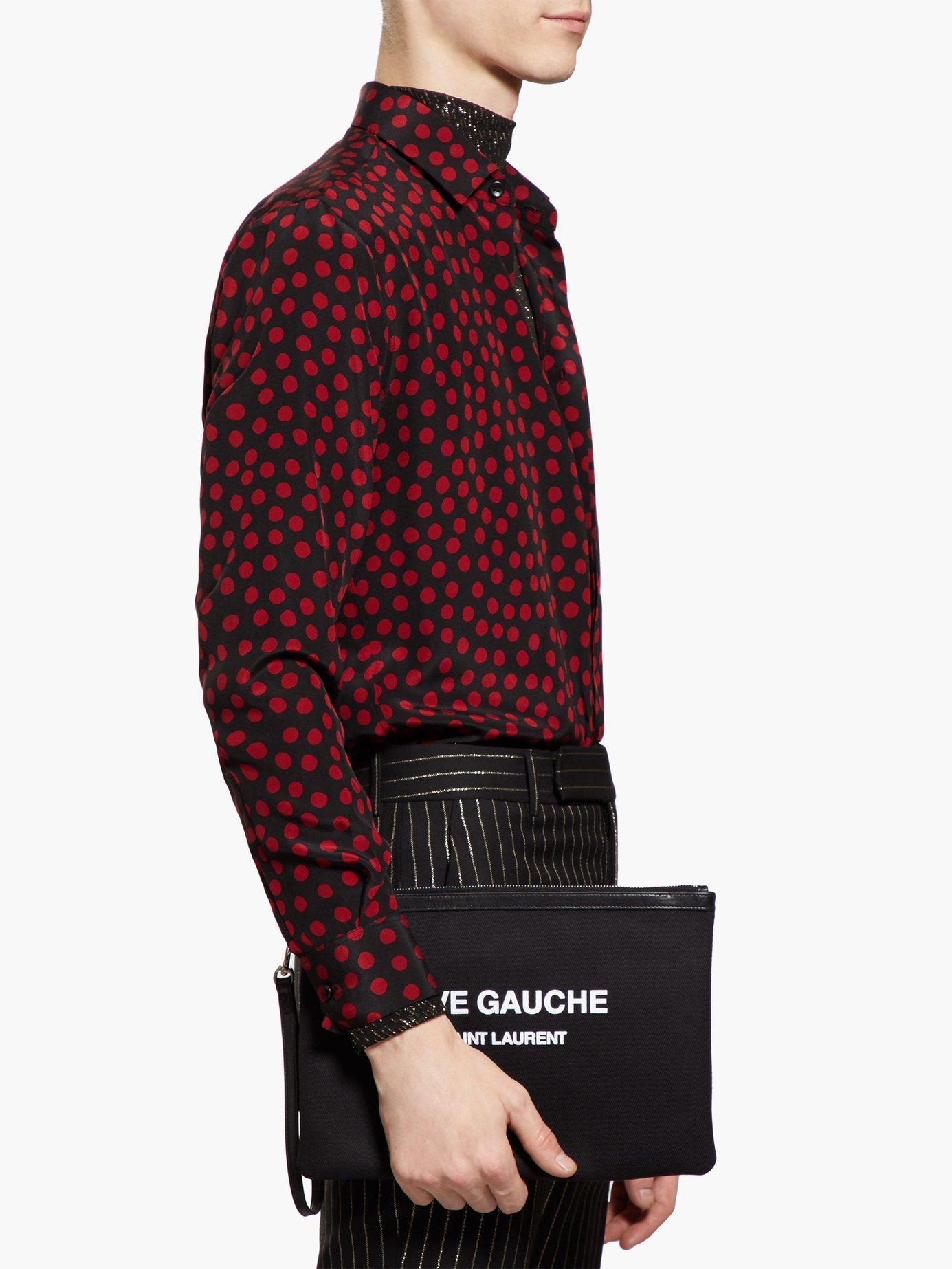 60e290fb12c Saint Laurent Rive Gauche Canvas Pouch in Black for Men - Lyst