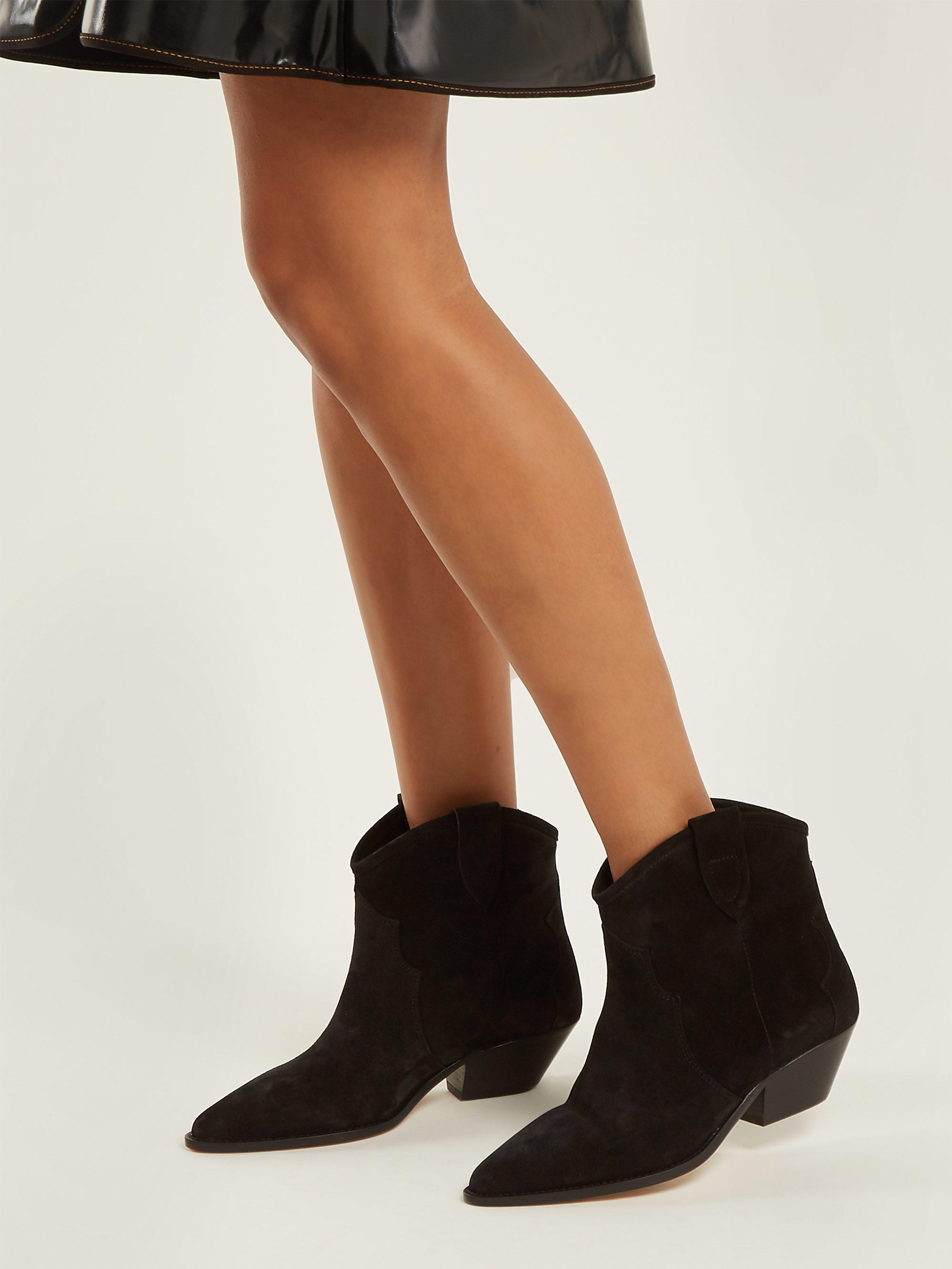 88838d684ec Isabel Marant Dewina Western Suede Ankle Boots in Black - Lyst