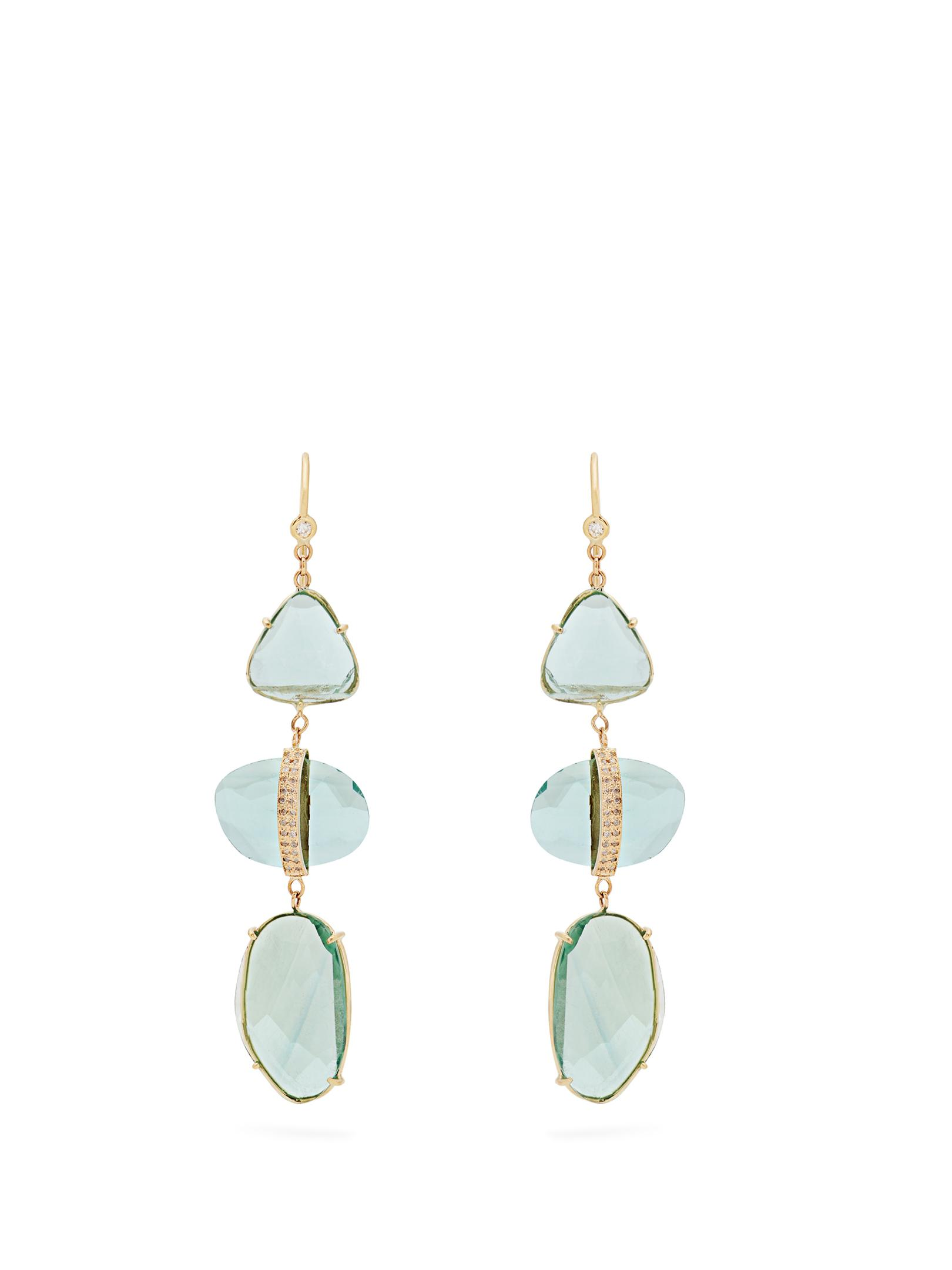 Diamond, labradorite & yellow-gold earrings Jacquie Aiche