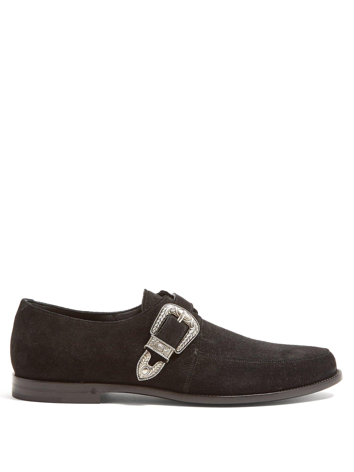 2382834f53f Lyst - Saint Laurent Charles Buckled Suede Loafers in Black for Men