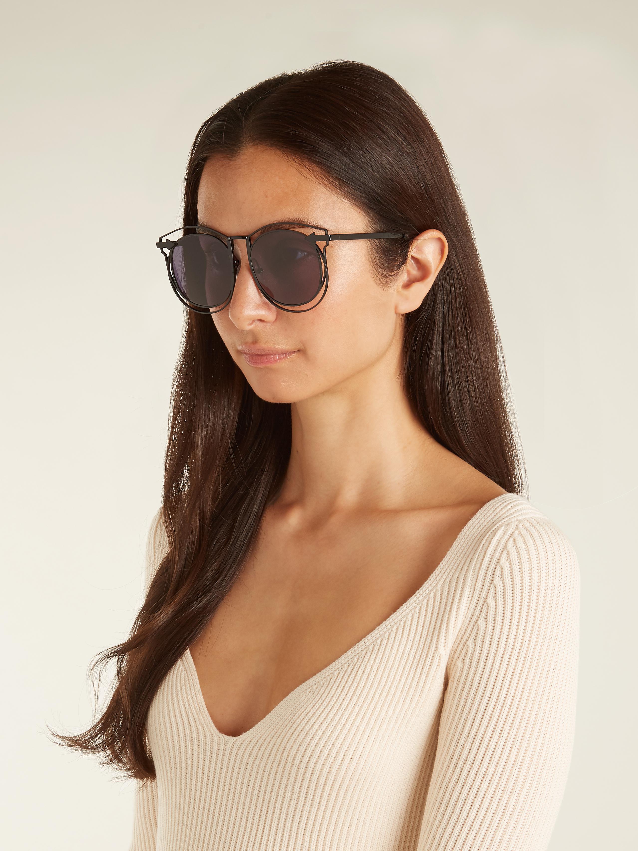 02e609db28a23 Karen Walker Simone Round-frame Sunglasses in Black - Lyst