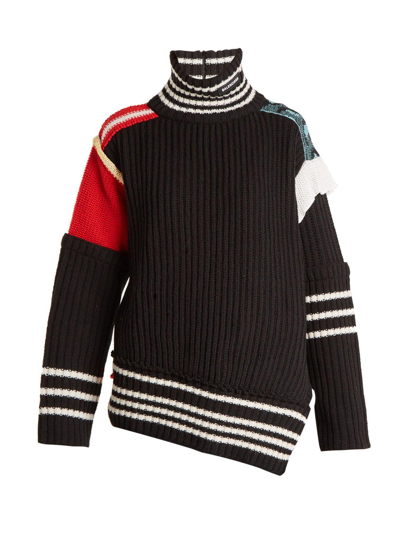 Lyst - Pull en laine patchwork à col montant Balenciaga 070558e205a