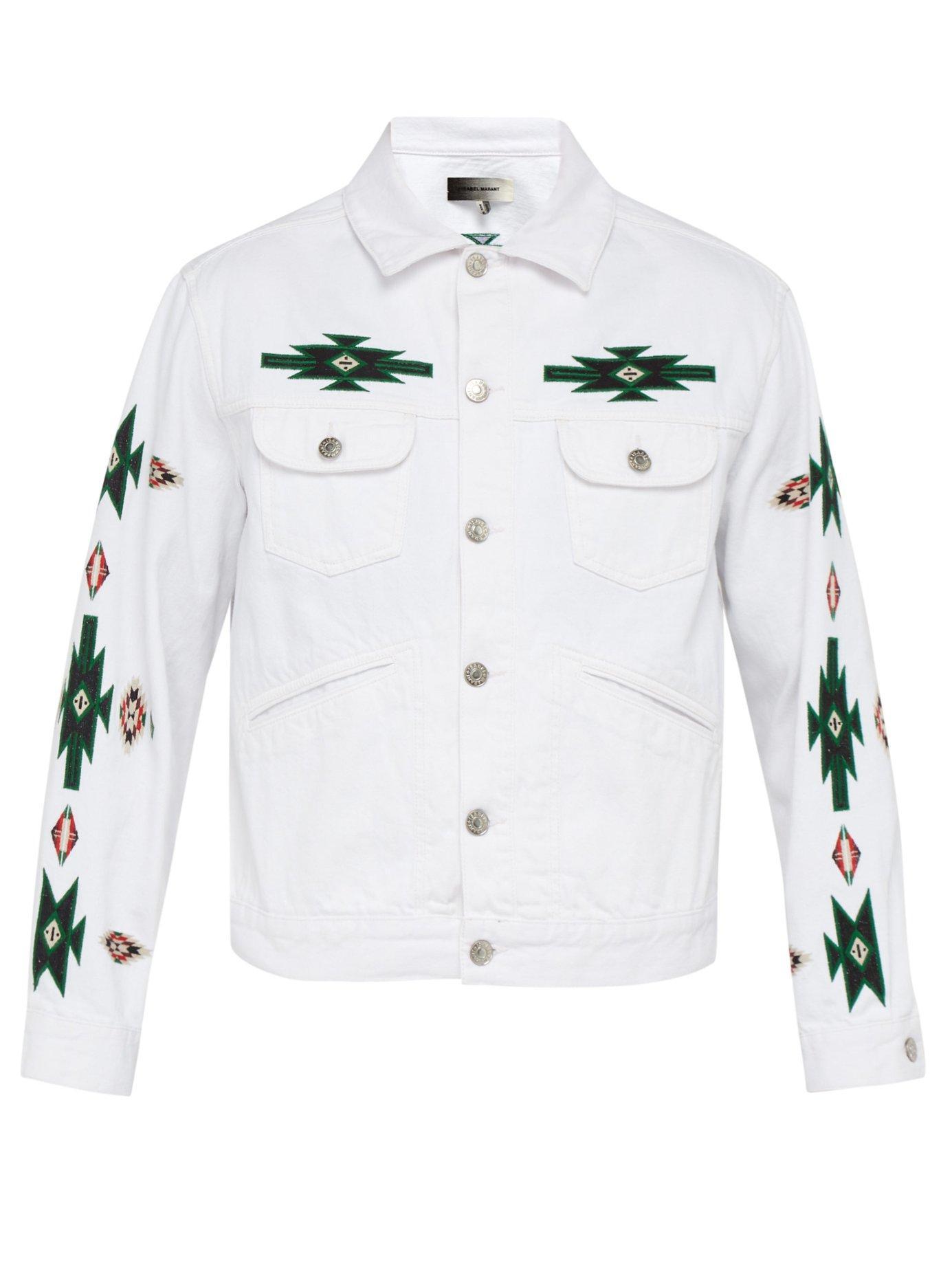 b7e9b5ae159 Lyst - Isabel Marant Jango Embroidered Denim Jacket in White for Men