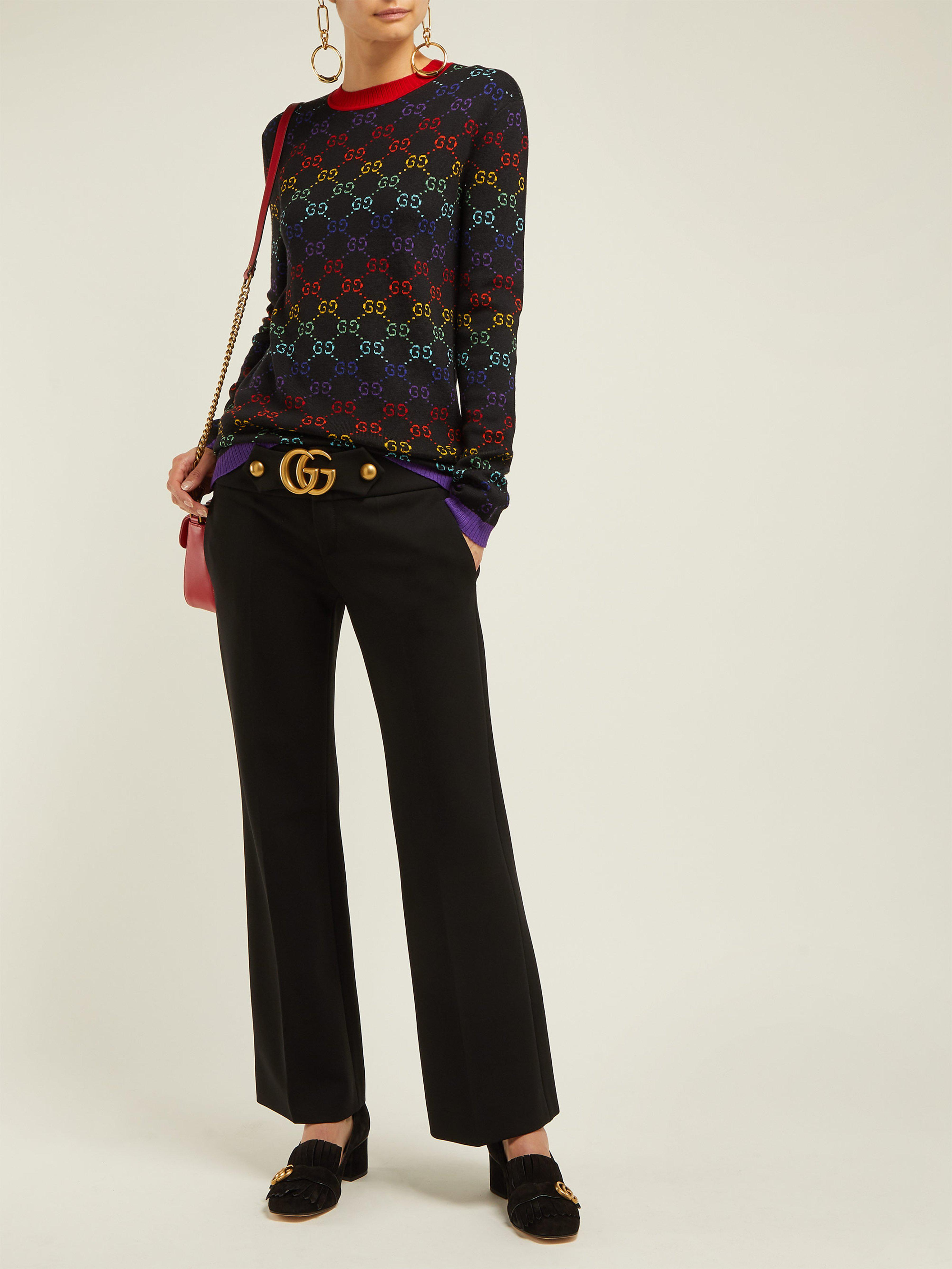 6c87229df Gucci Gg Jacquard Wool Sweater in Black - Lyst