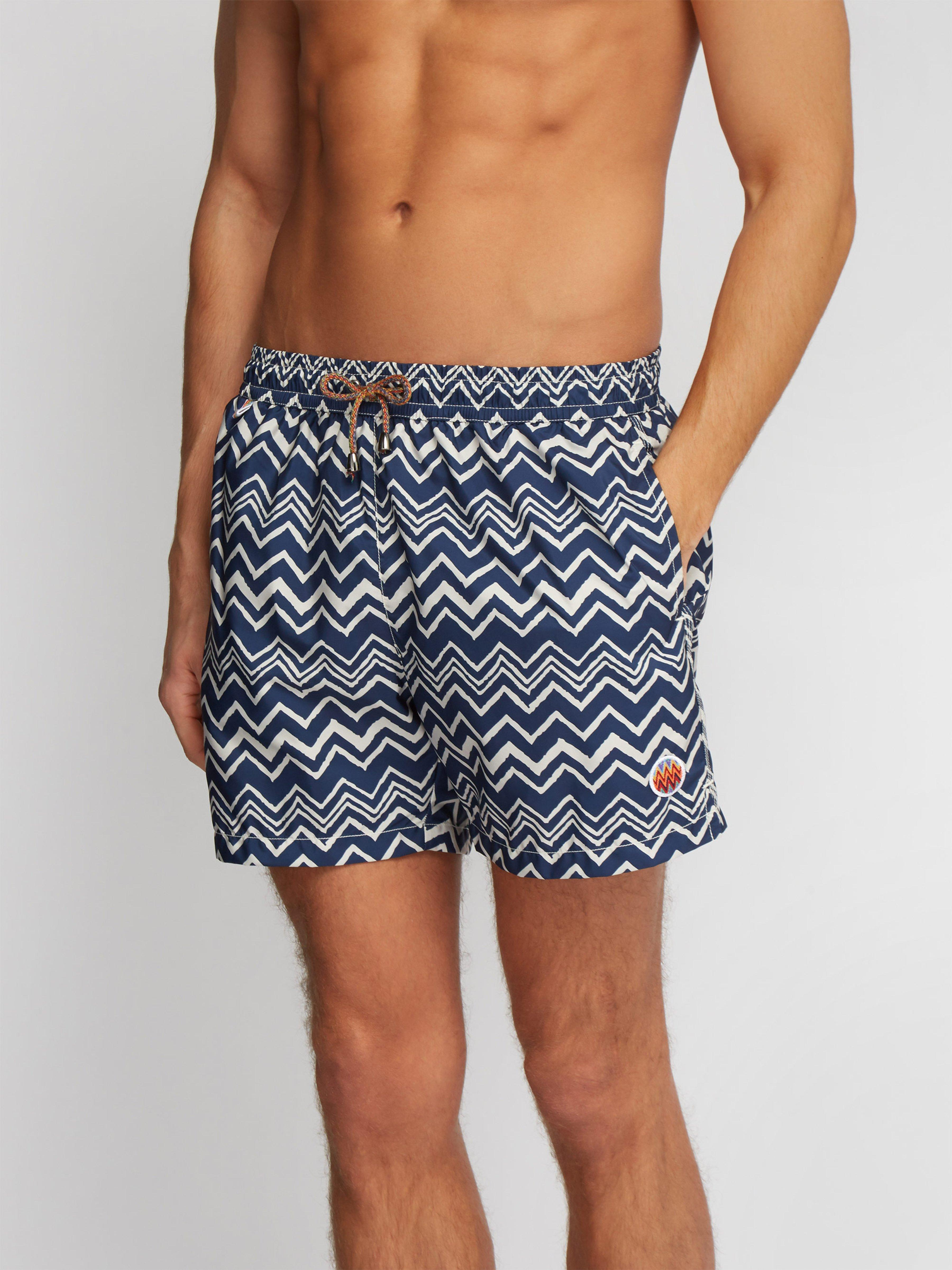 1cc0bc3232 Missoni Zigzag Print Swim Shorts in Blue for Men - Lyst