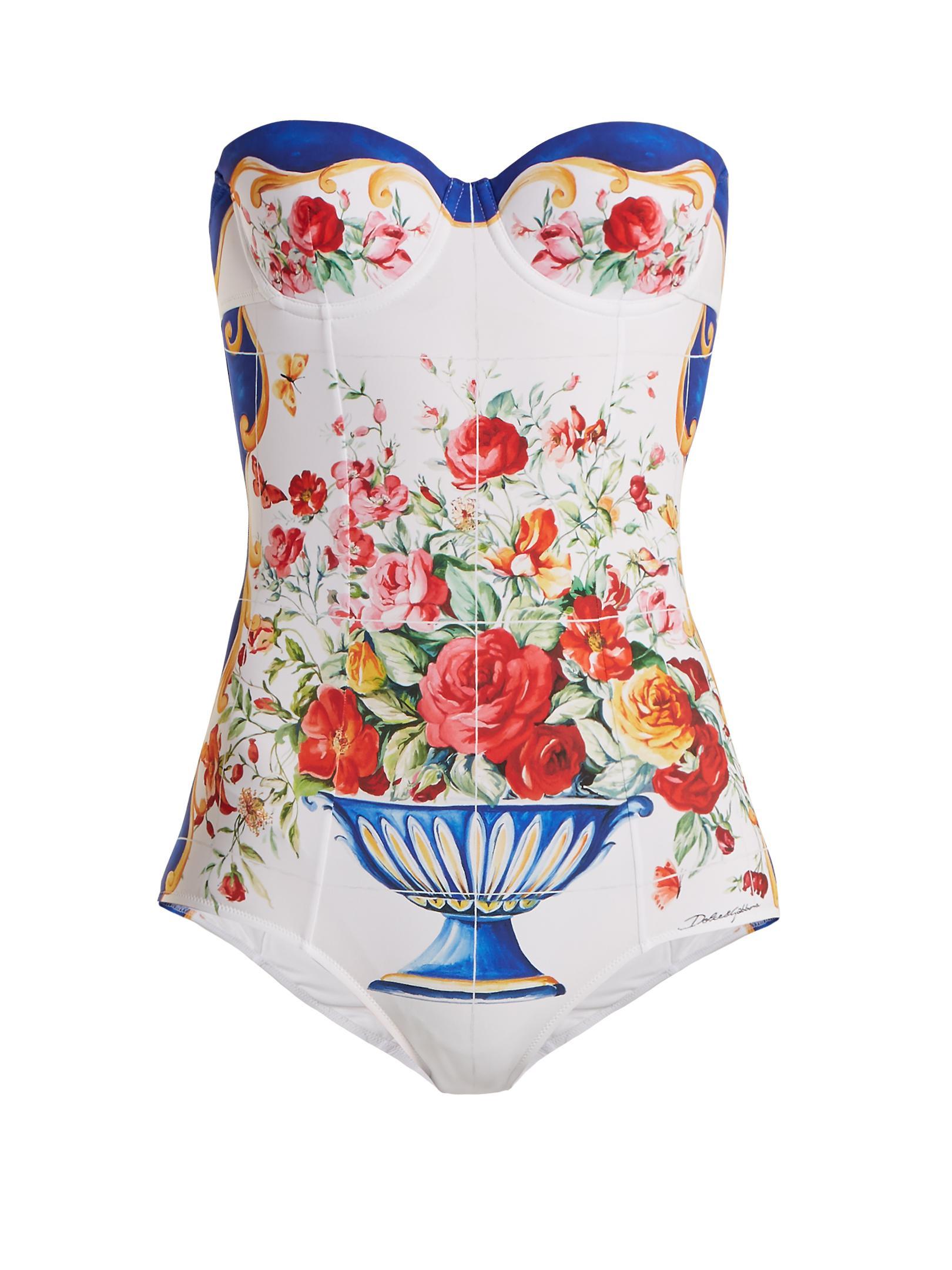 47d252d6bb6e3 Dolce & Gabbana Majolica-print Balconette Swimsuit in Blue - Lyst