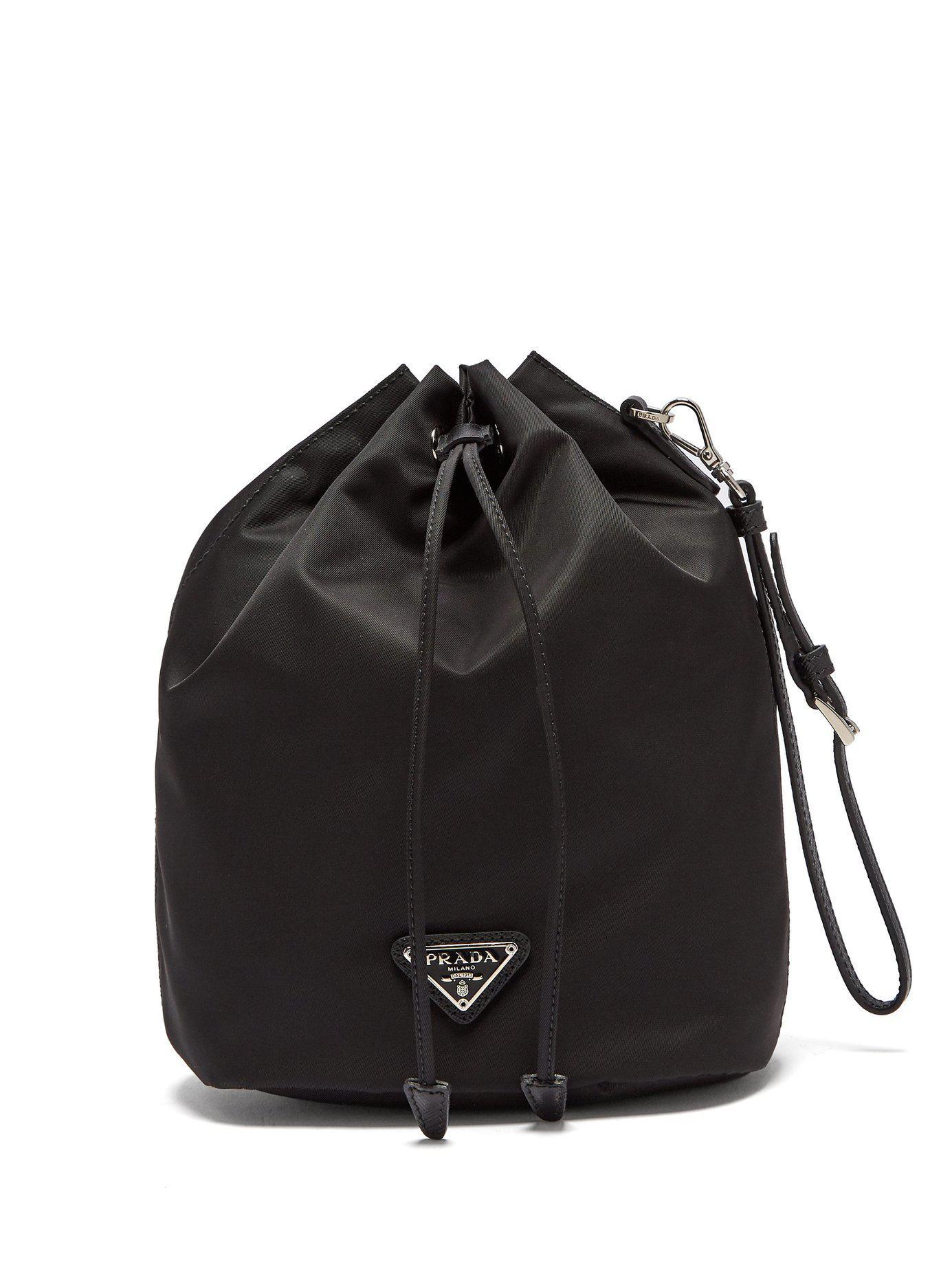 c2398f84947b ... best lyst prada leather trimmed drawstring nylon wash bag in black  452e8 10162