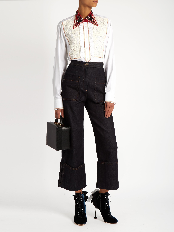 7b7eecd6bc8fe4 Miu Miu Guipure-lace Bib Cotton-poplin Shirt - Lyst