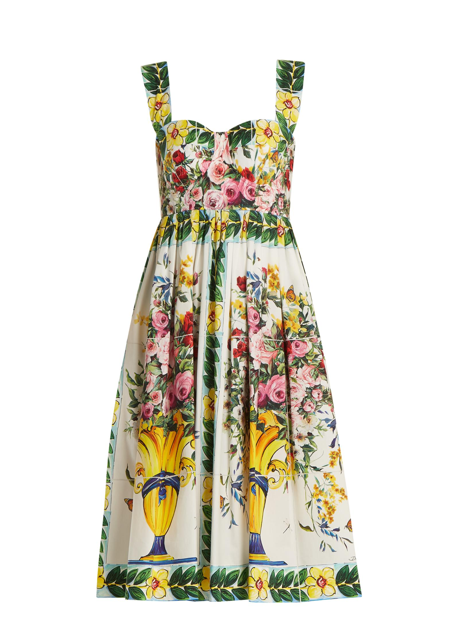 Floral-print gathered midi dress Dolce & Gabbana
