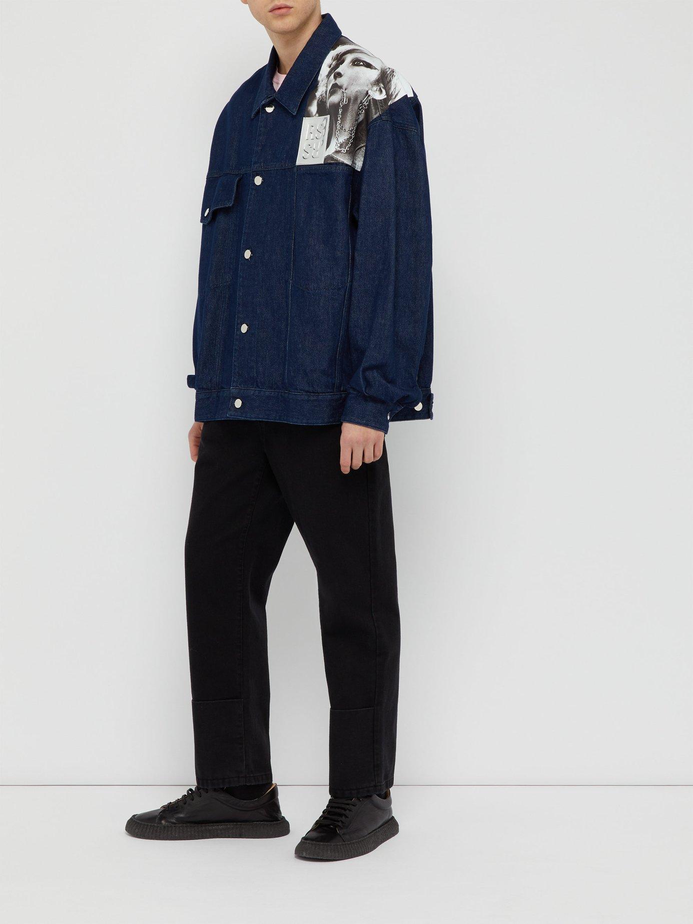 ce1ed8a1ce0 Lyst - Raf Simons Punkette Oversized Denim Jacket in Blue for Men ...