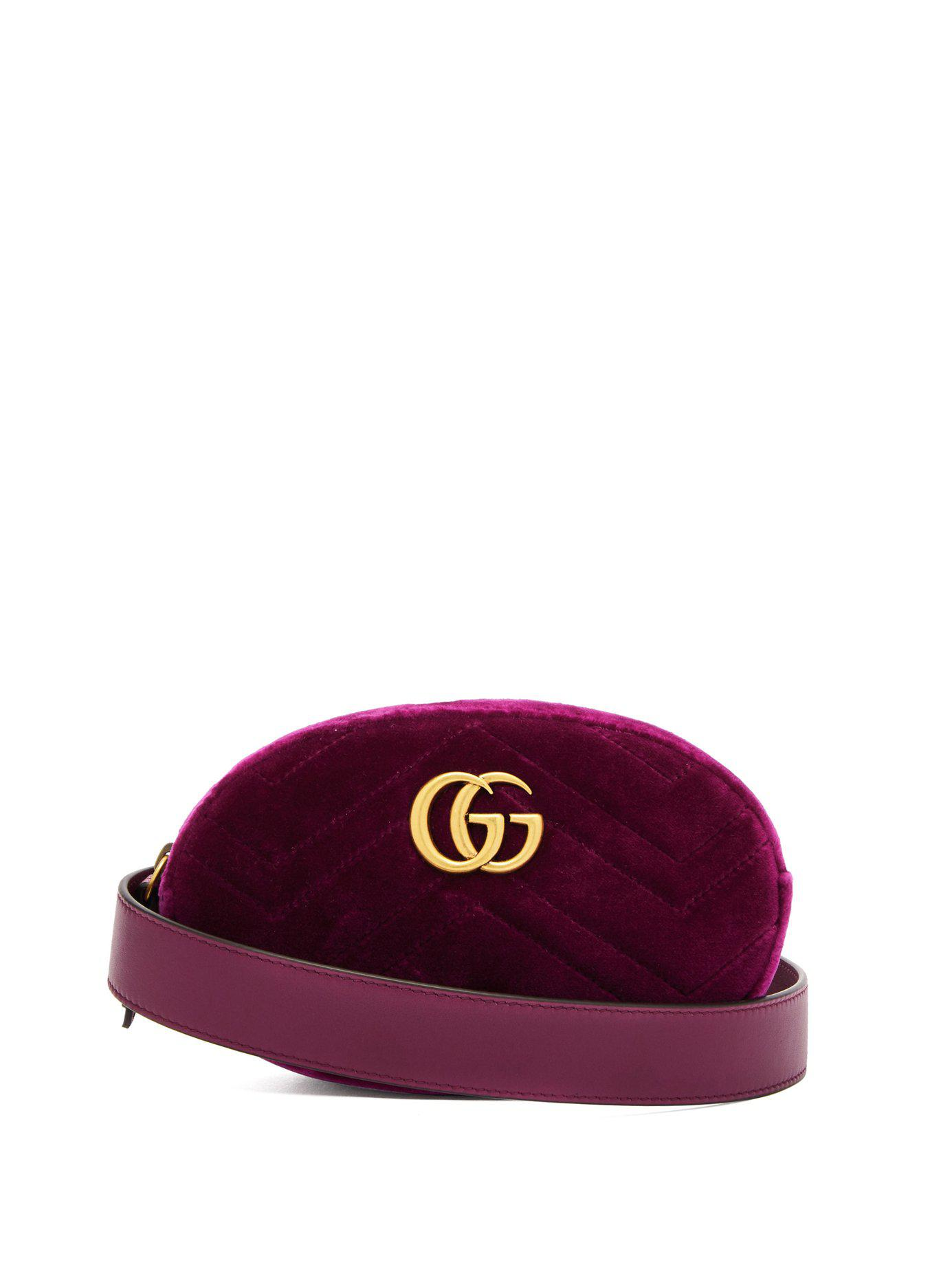 a53b47e9a05 Lyst - Gucci Gg Marmont Velvet Belt Bag in Purple