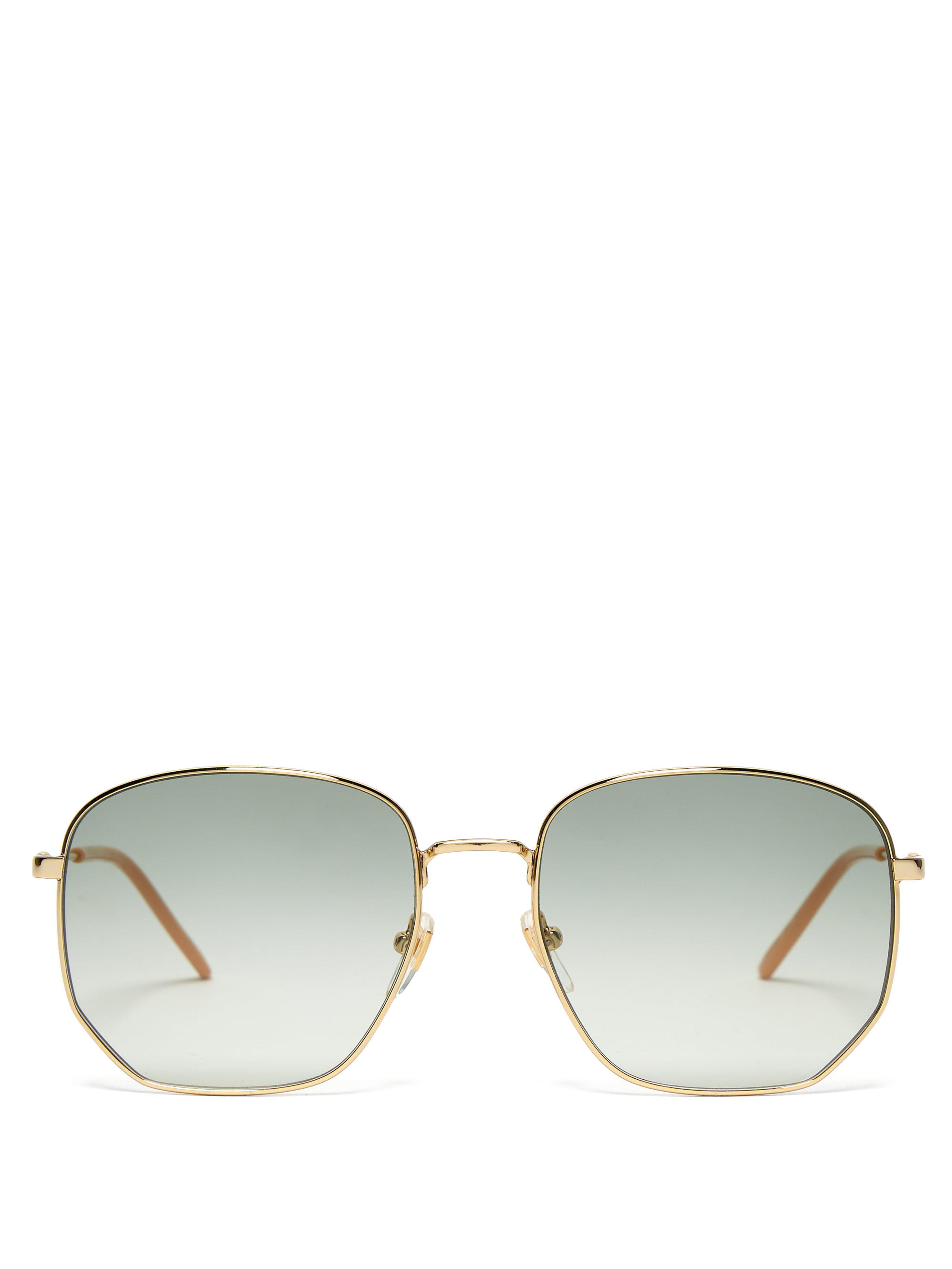 Lyst - Lunettes de soleil à monture en métal GG Gucci en coloris Bleu 51ba7c4a5536