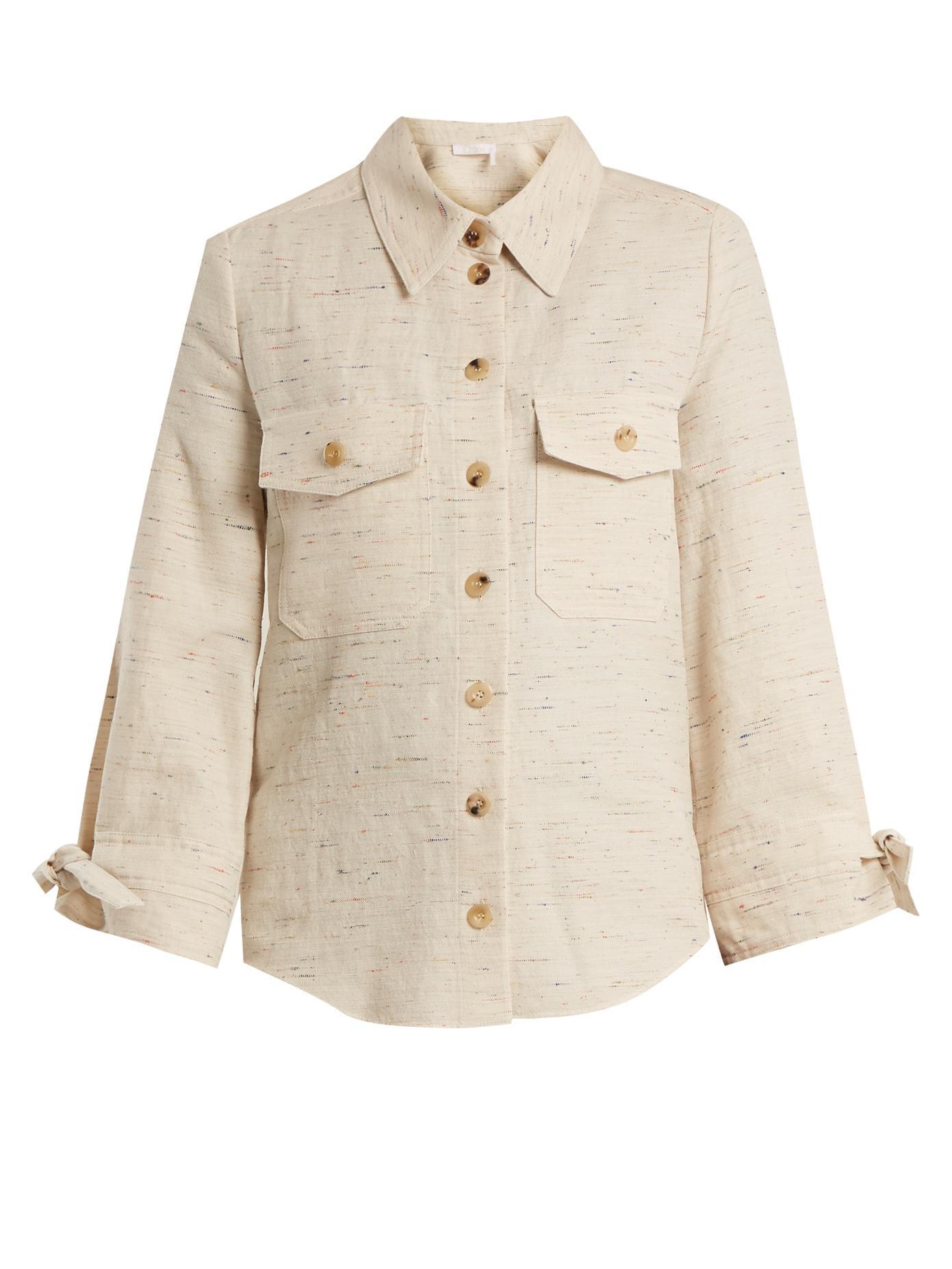 Flecked cotton-blend shirt Chloé Discount Best Seller 7FUqXK5md7