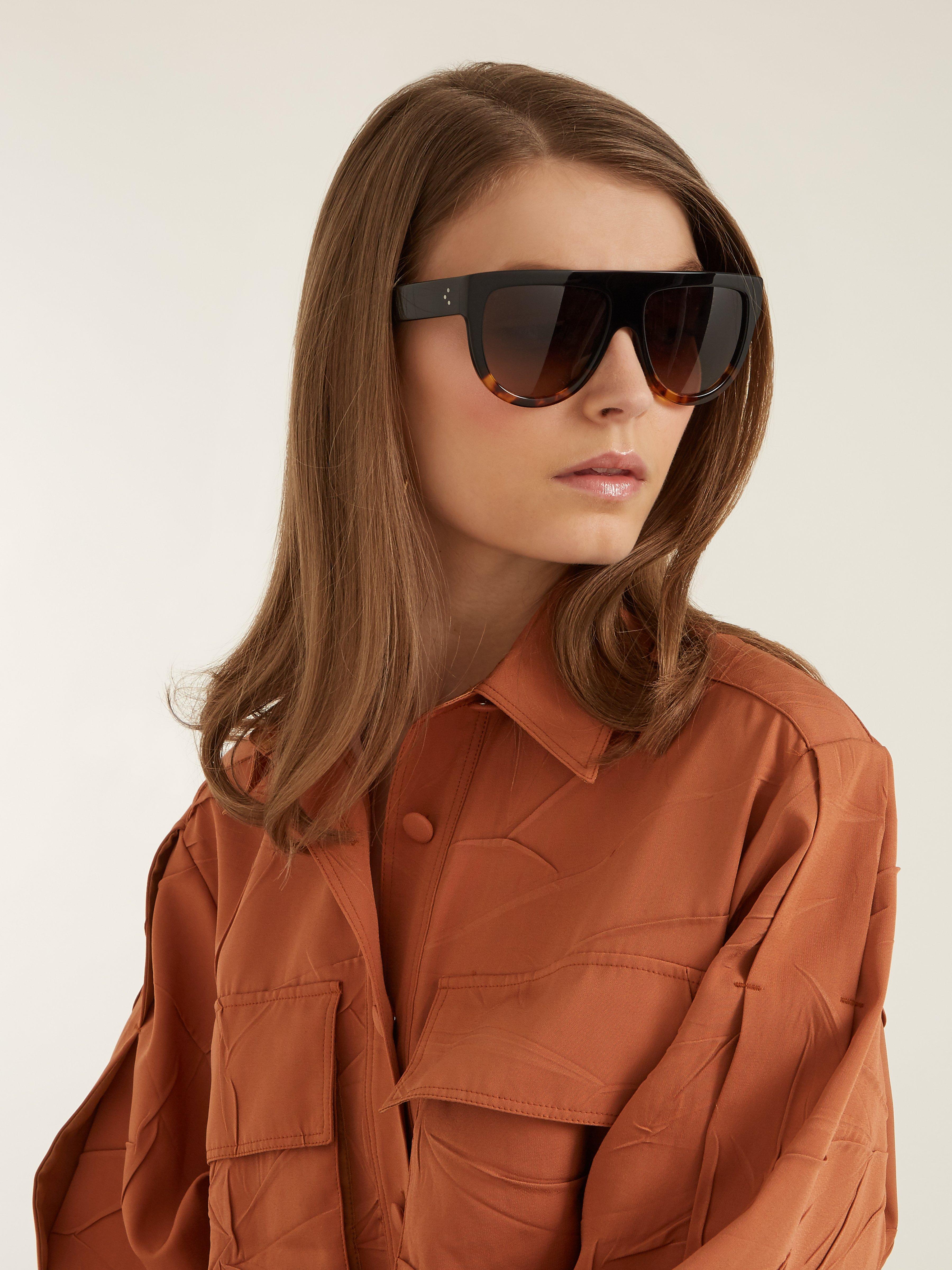 b99d3dc753be Céline Aviator D Frame Acetate Sunglasses in Black - Lyst