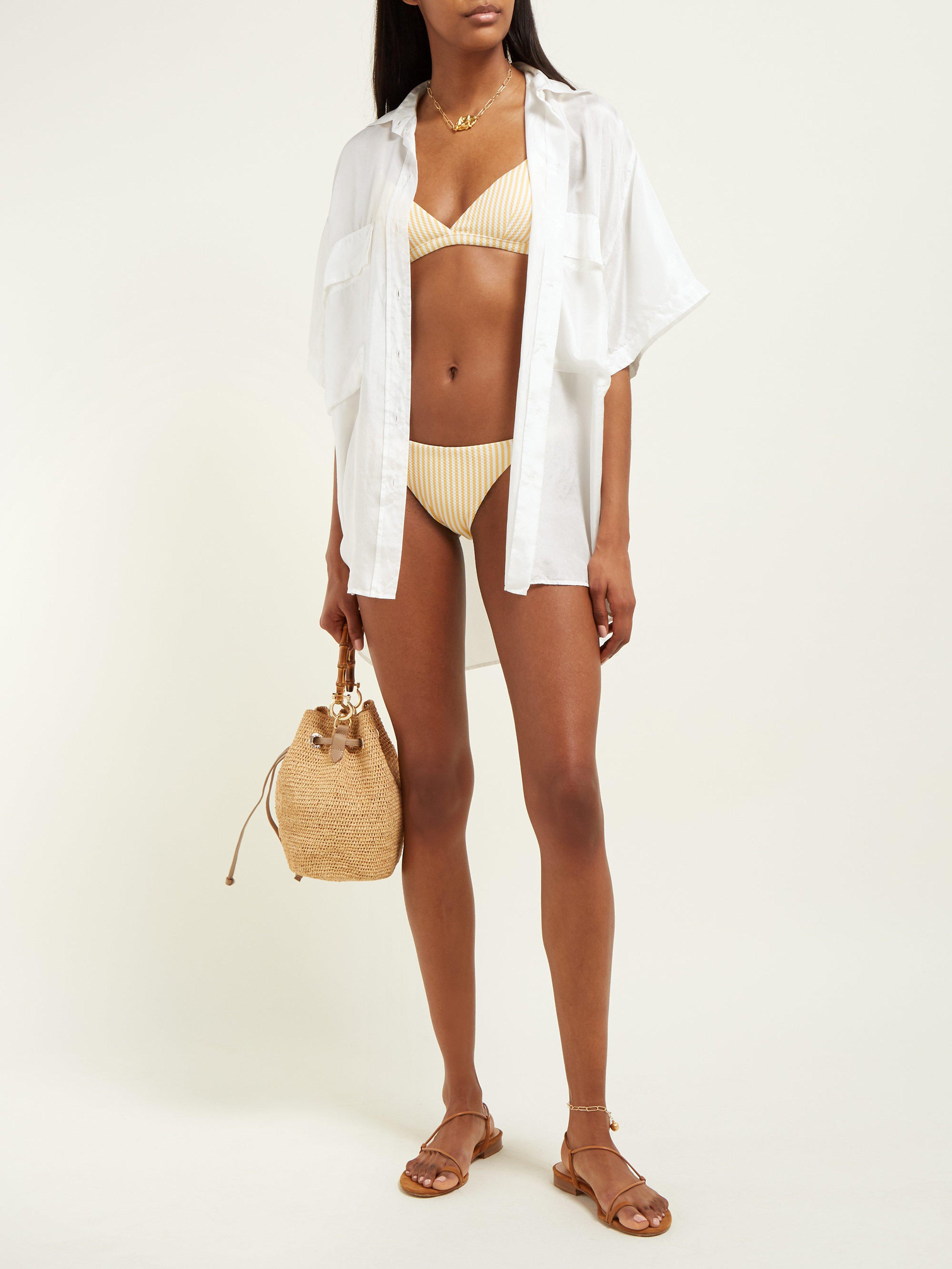 e360c0650b Asceno Striped Triangle Cup Bikini Top - Lyst