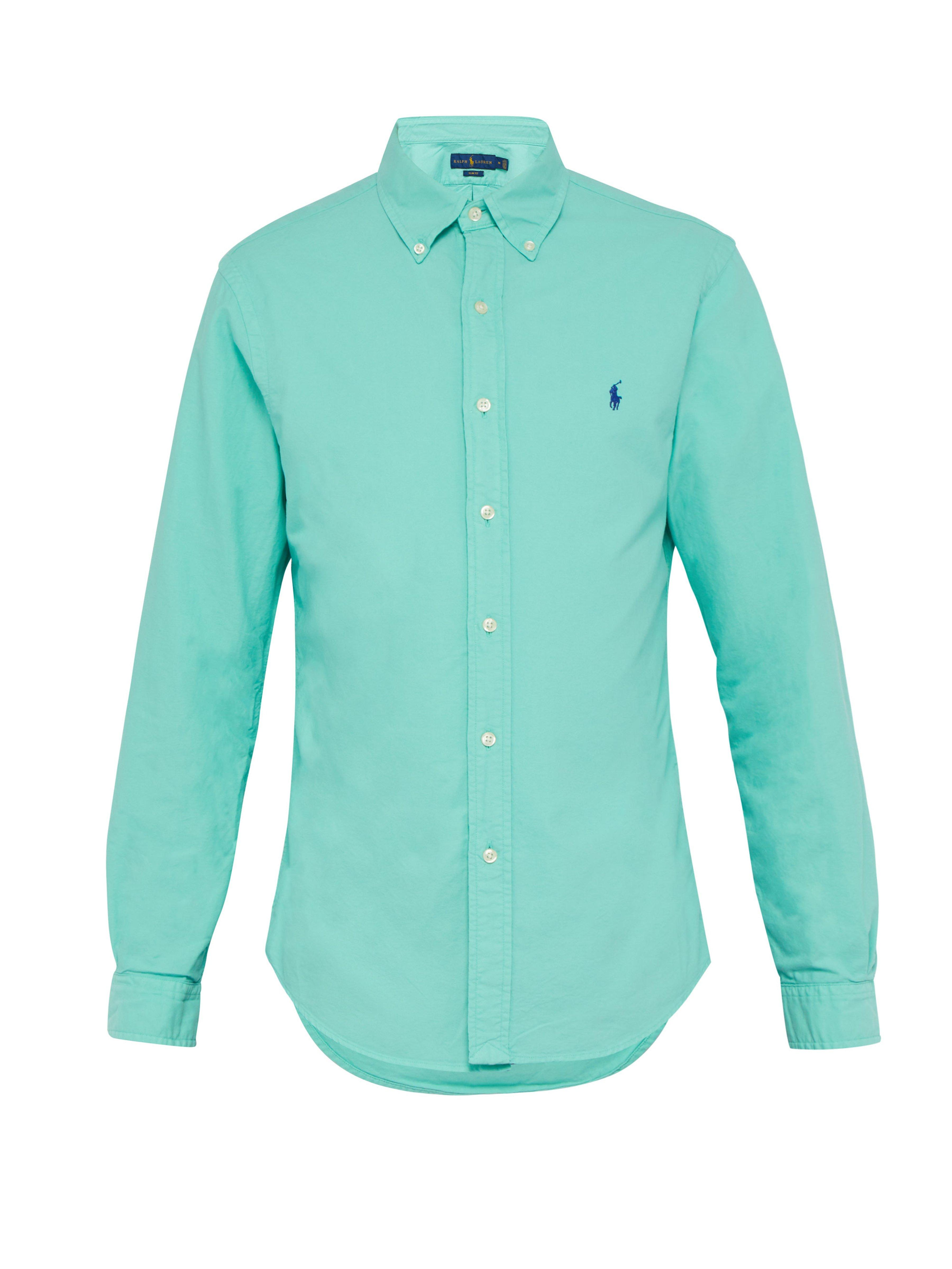 0dd827e55c5a Polo Ralph Lauren Slim Fit Cotton Oxford Shirt in Green for Men - Lyst