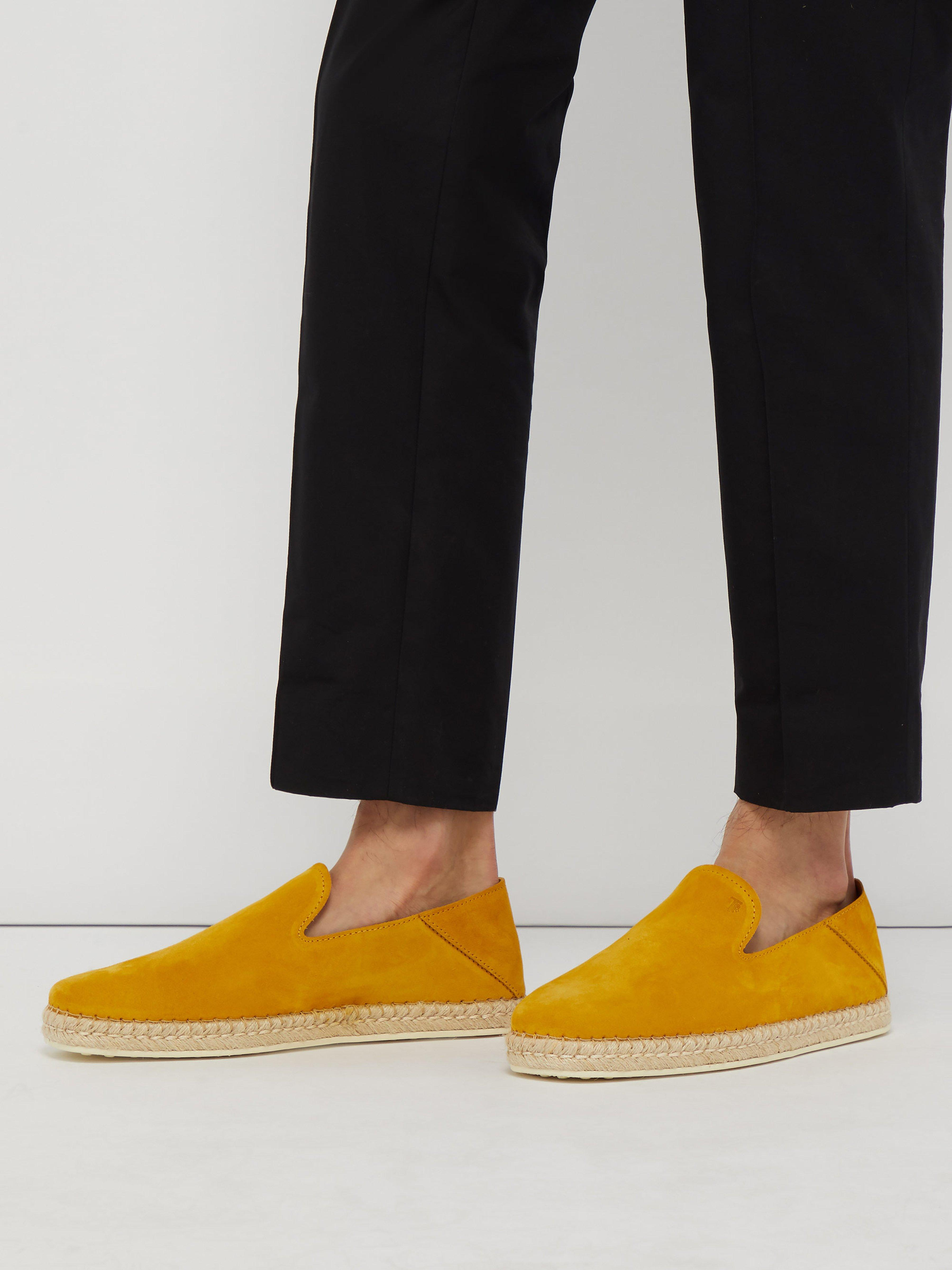5a6674016 Tod's Collapsible Heel Suede Espadrilles in Yellow for Men - Lyst