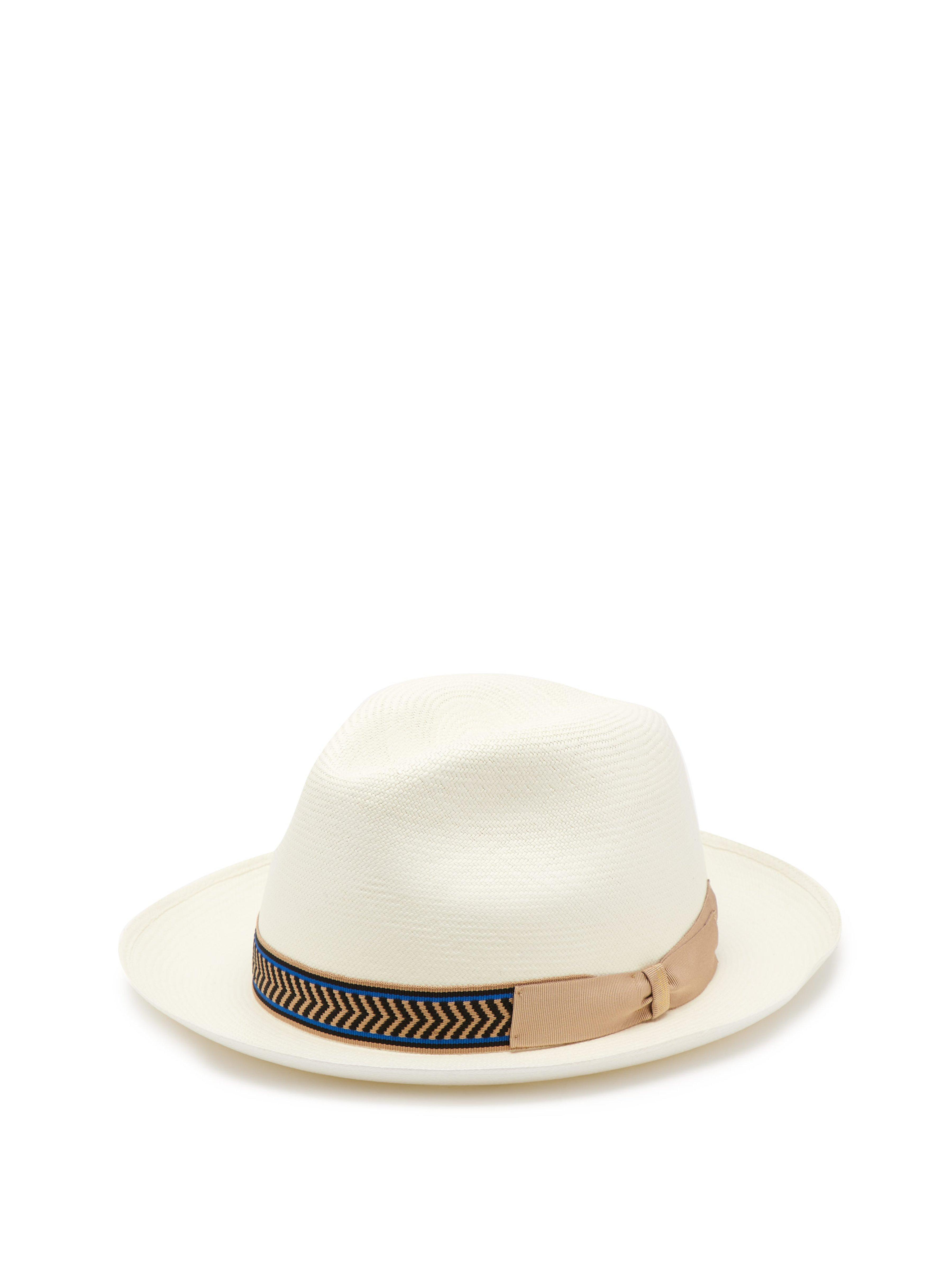 7a0af4372d3c1 Borsalino Grosgrain Trim Straw Panama Hat in White for Men - Lyst
