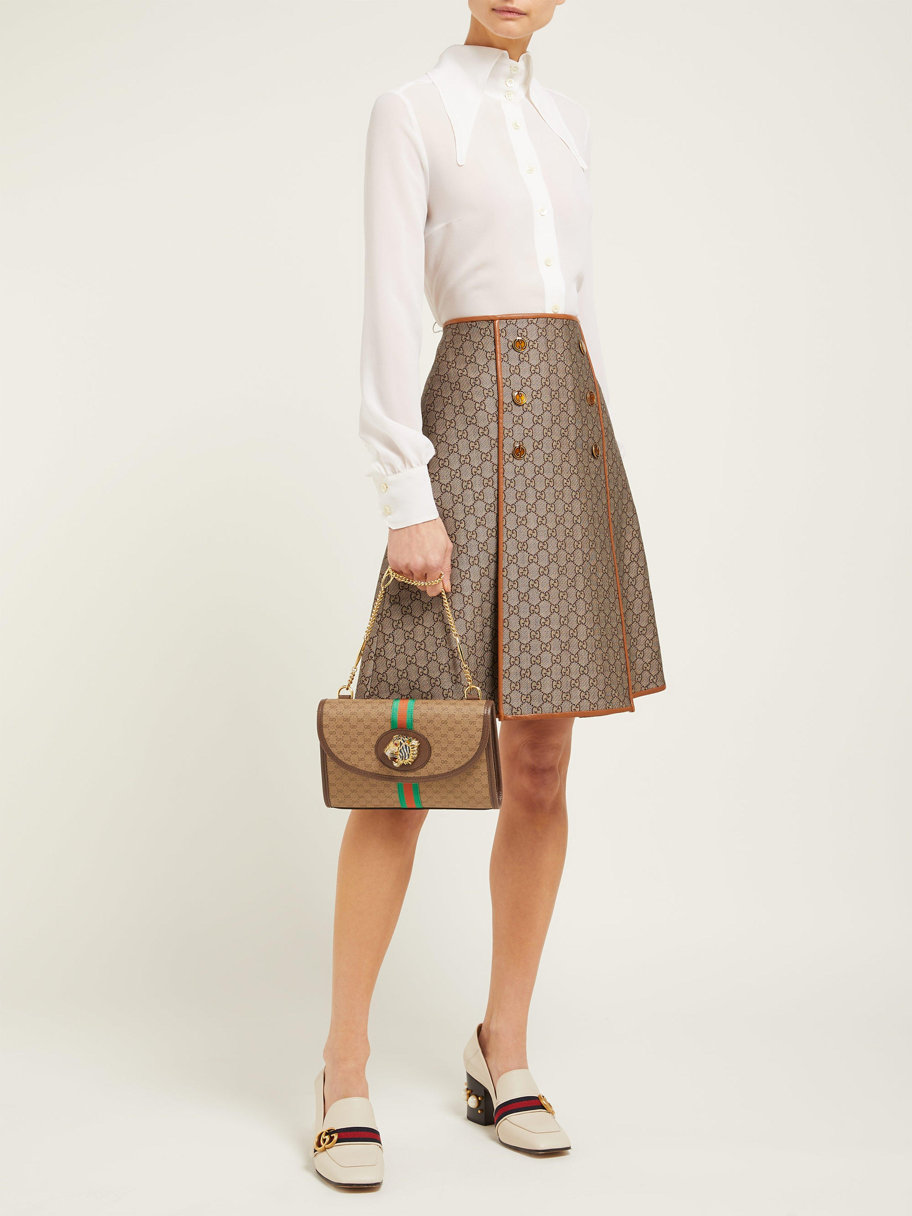76f03083e751bd Gucci Small Rajah Gg Supreme Cross Body Bag in Natural - Lyst