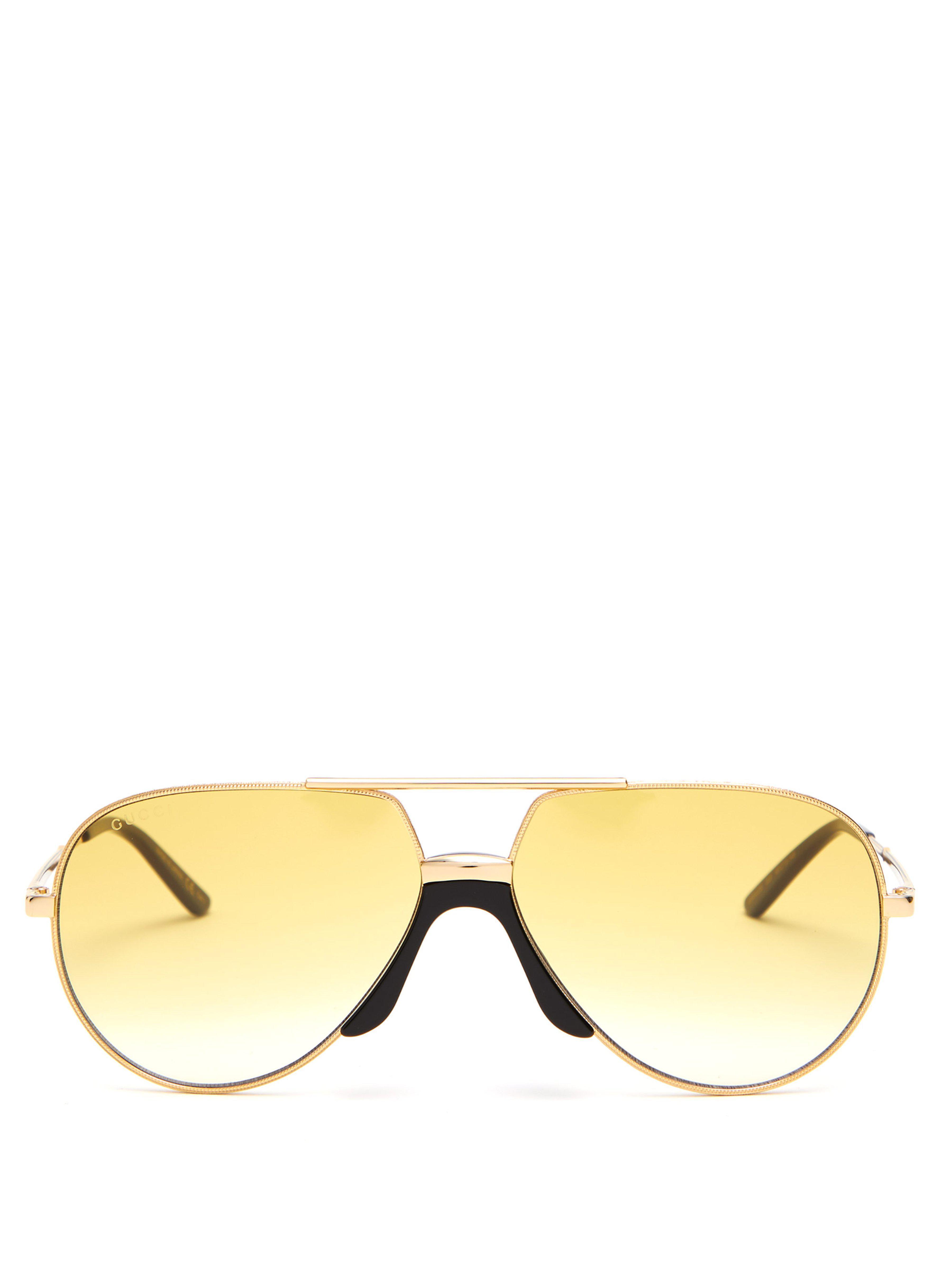 bb50782b575c Gucci Aviator Frame Metal Sunglasses in Metallic for Men - Lyst