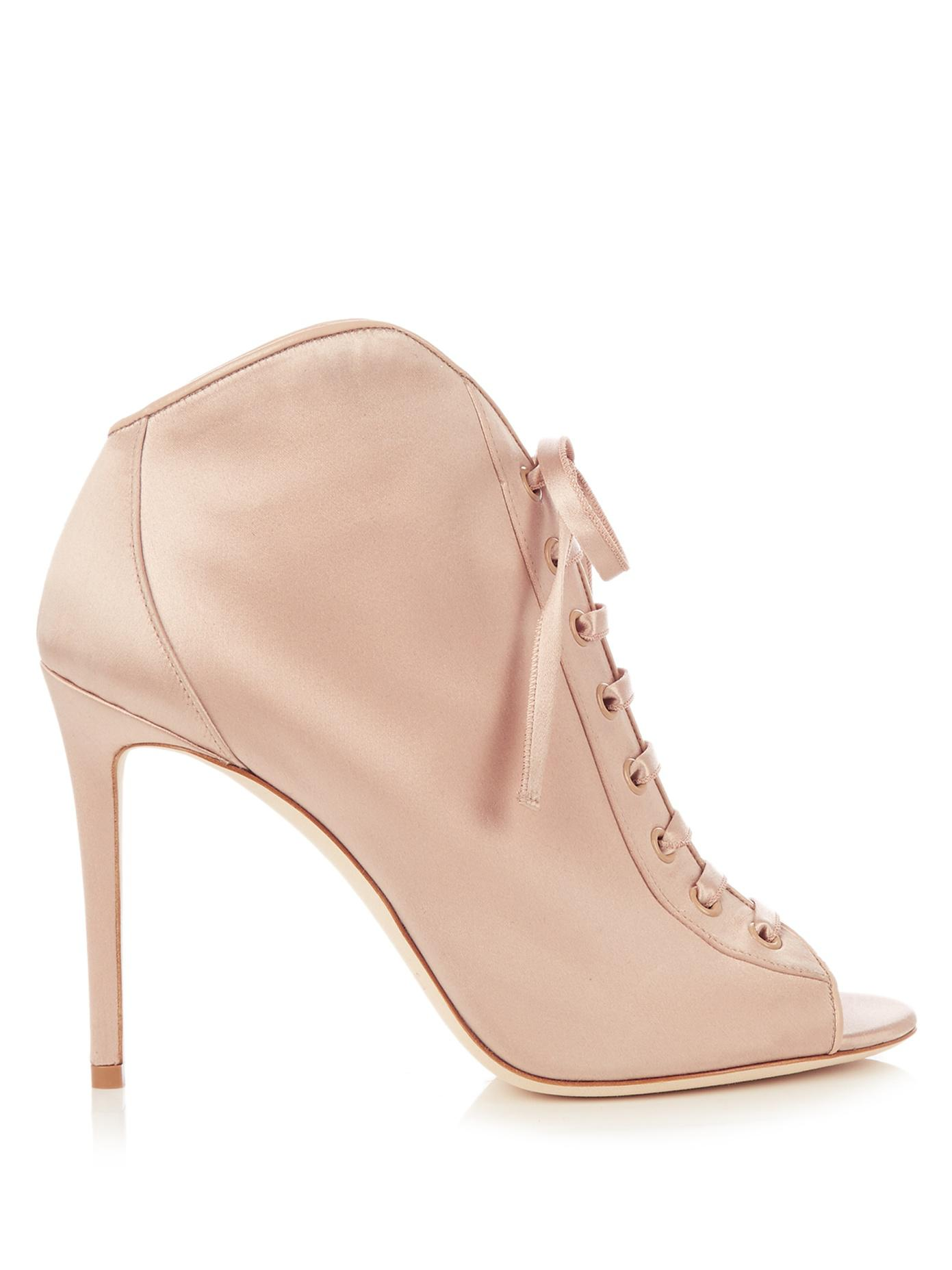 049e8af184d71 Jimmy Choo Freya 100mm Open-toe Satin Ankle Boots in Pink - Lyst