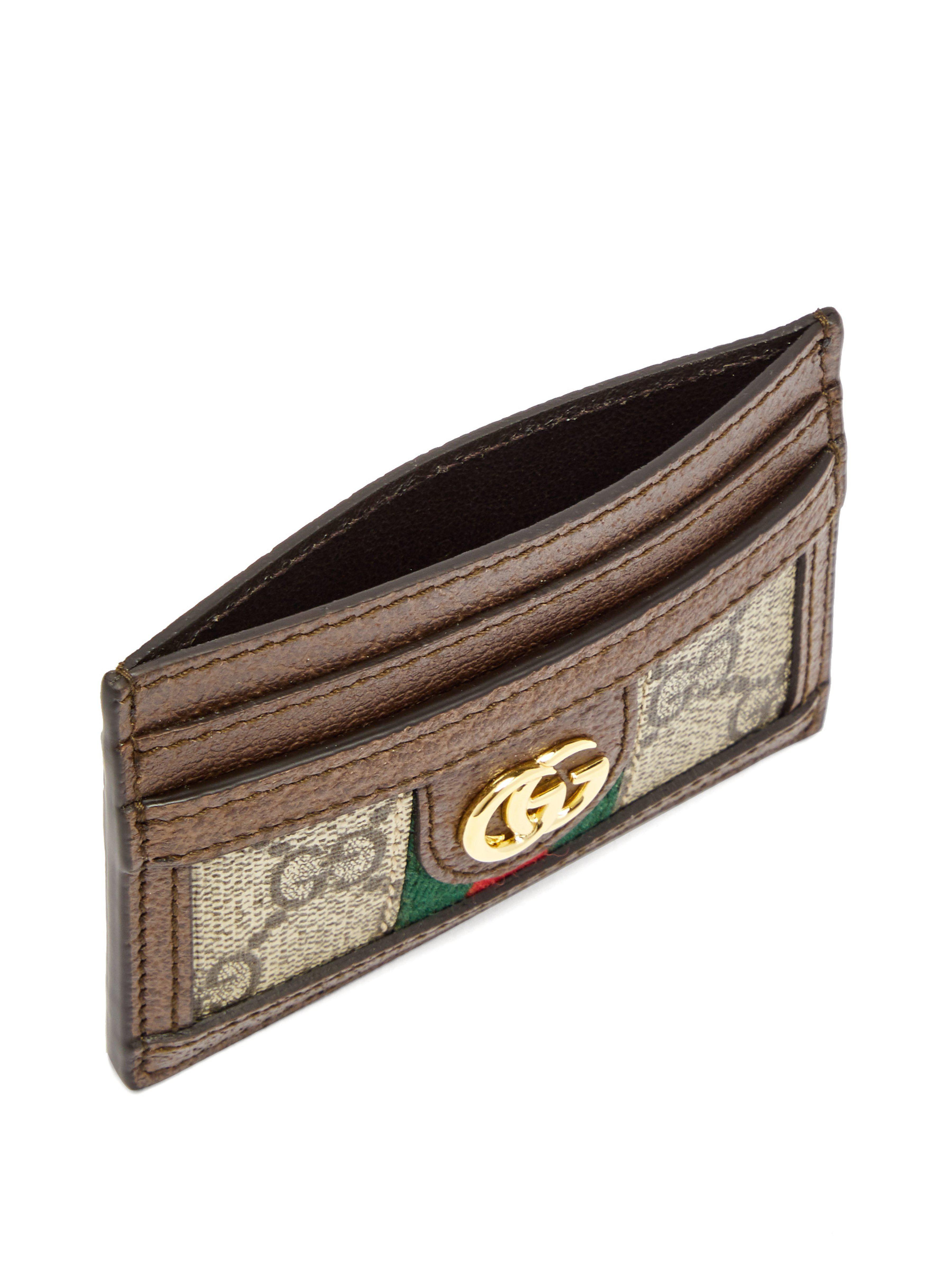 bb93a346cd7d Lyst - Porte-cartes en cuir à plaque GG Ophidia Gucci en coloris Marron