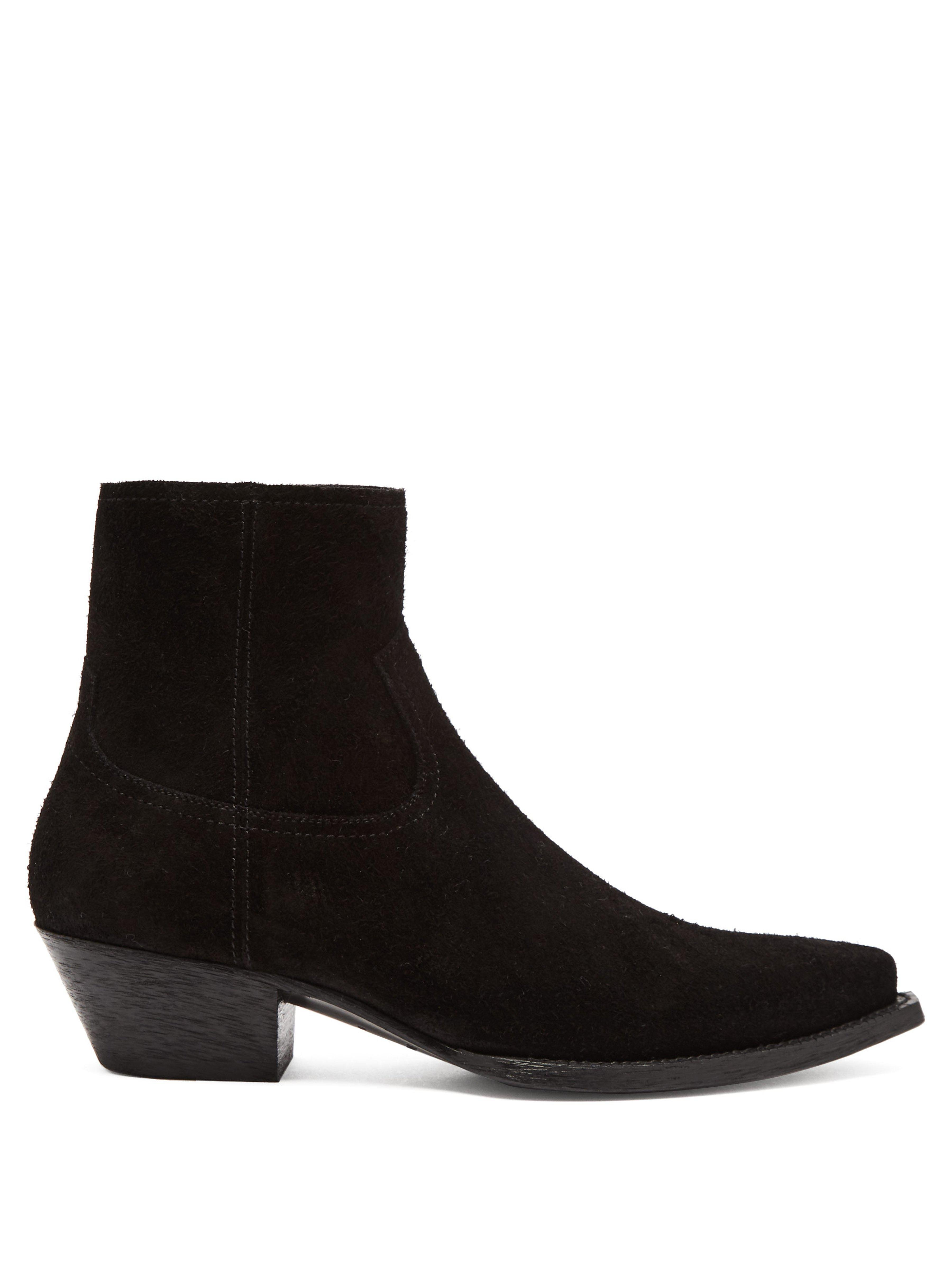 0f2a5a0ed39 Saint Laurent. Women's Black 40mm Lukas Reversed Leather Ankle Boots